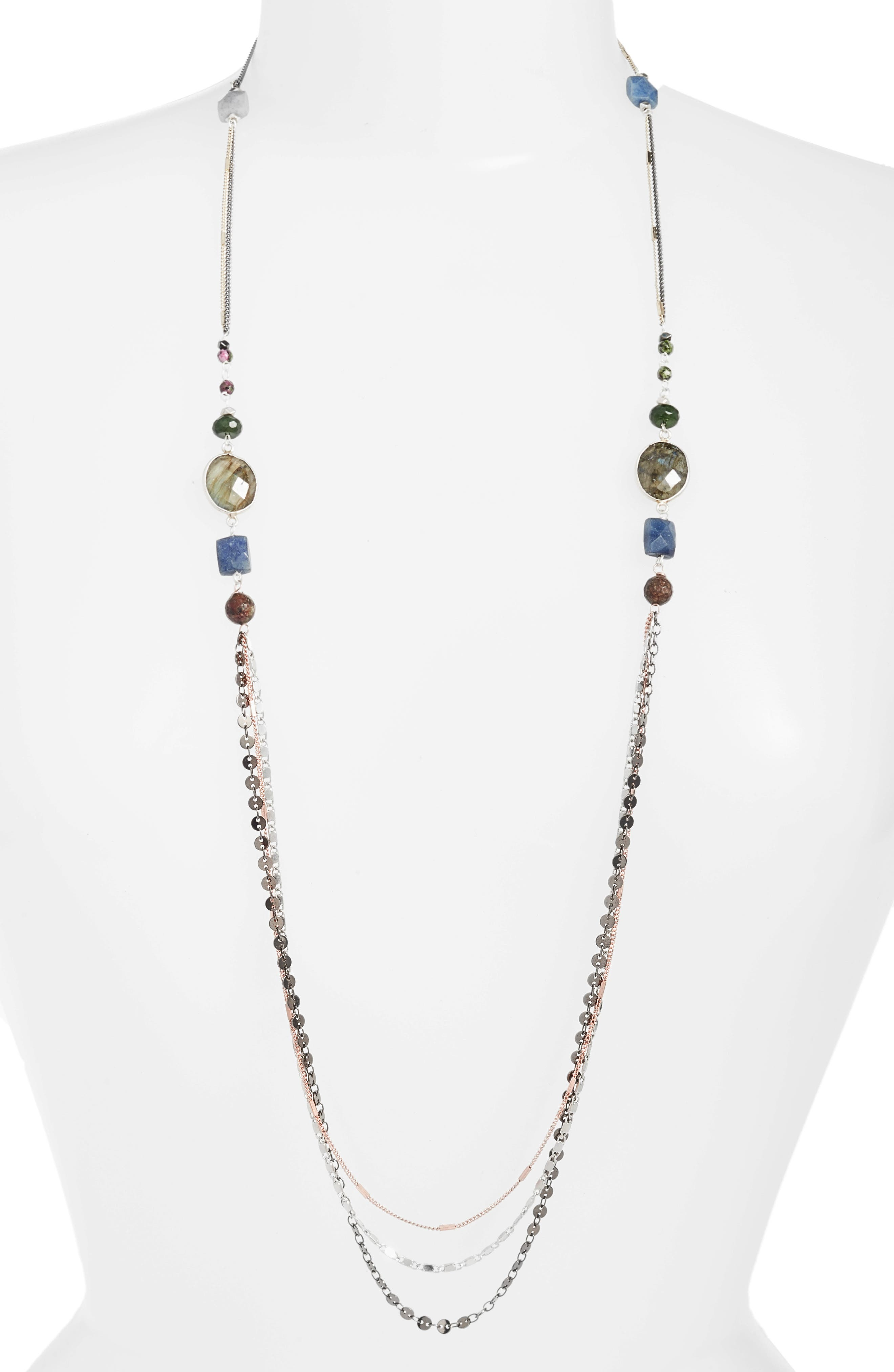 Beaded Necklace,                         Main,                         color, Grey