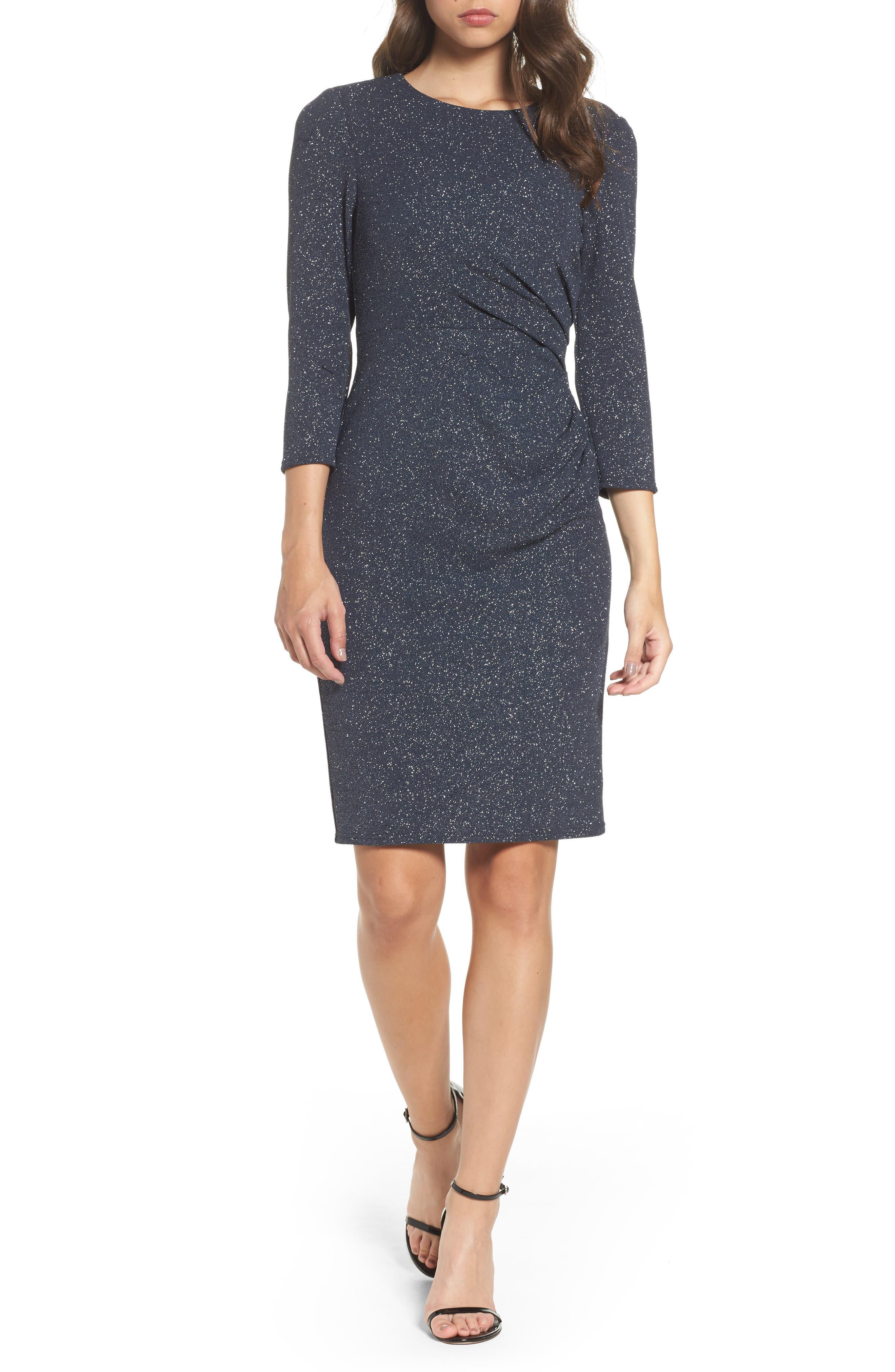 Gathered Sheath Dress,                         Main,                         color, Grey