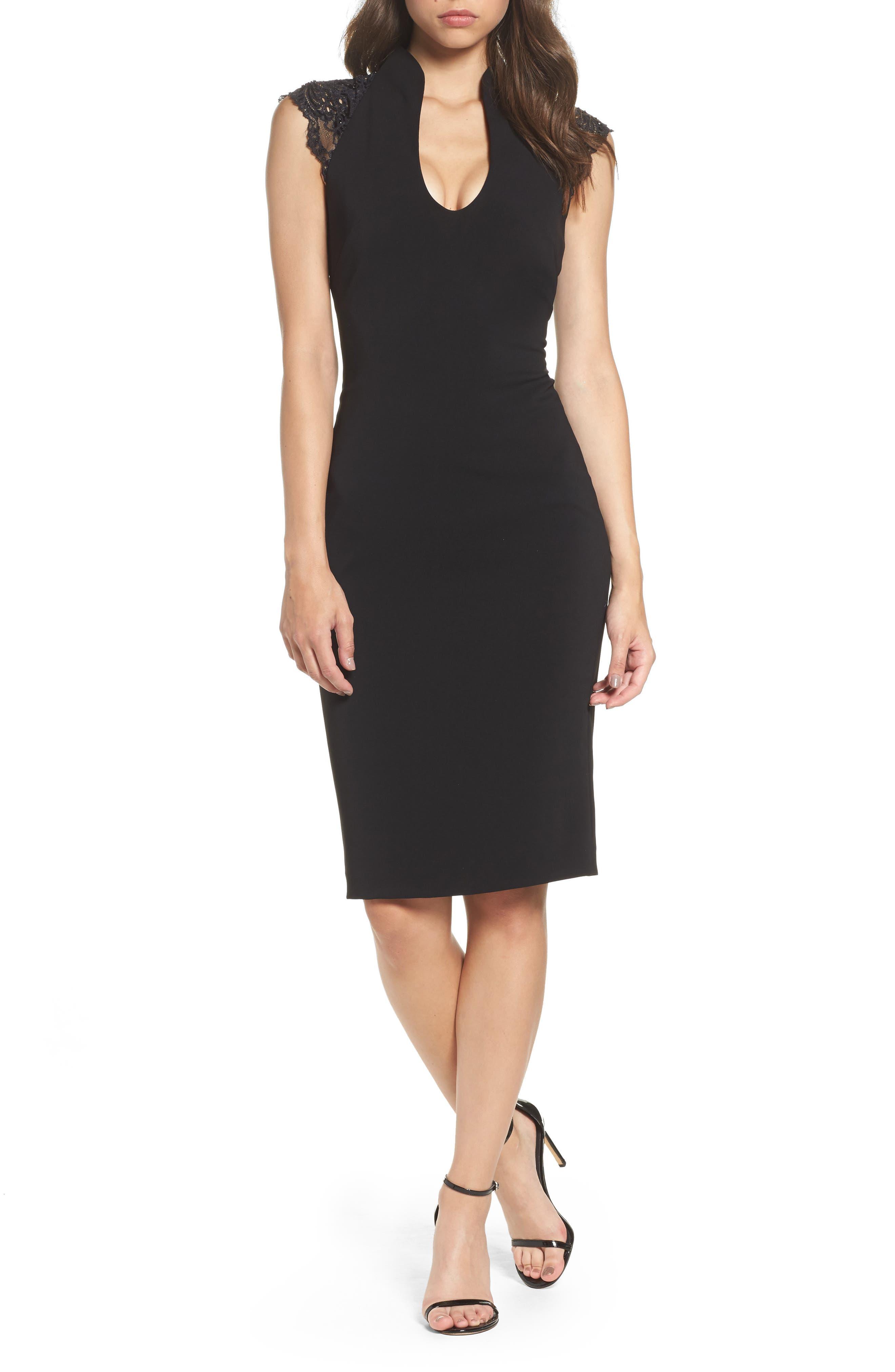 Badgley Mischka Lace Shoulder Shift Dress
