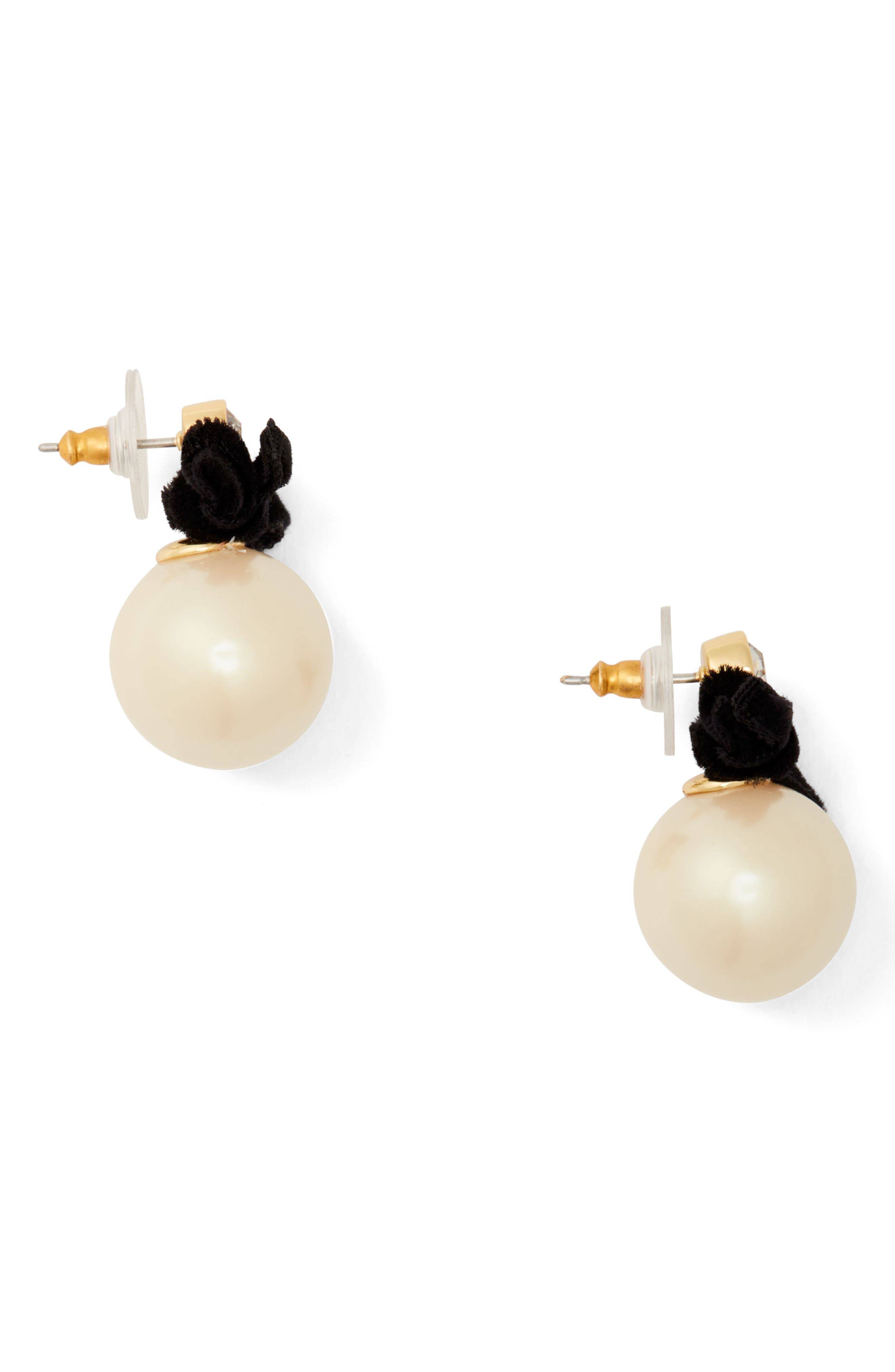 girls in pearls imitation pearl drop earrings,                             Alternate thumbnail 3, color,                             Cream Multi