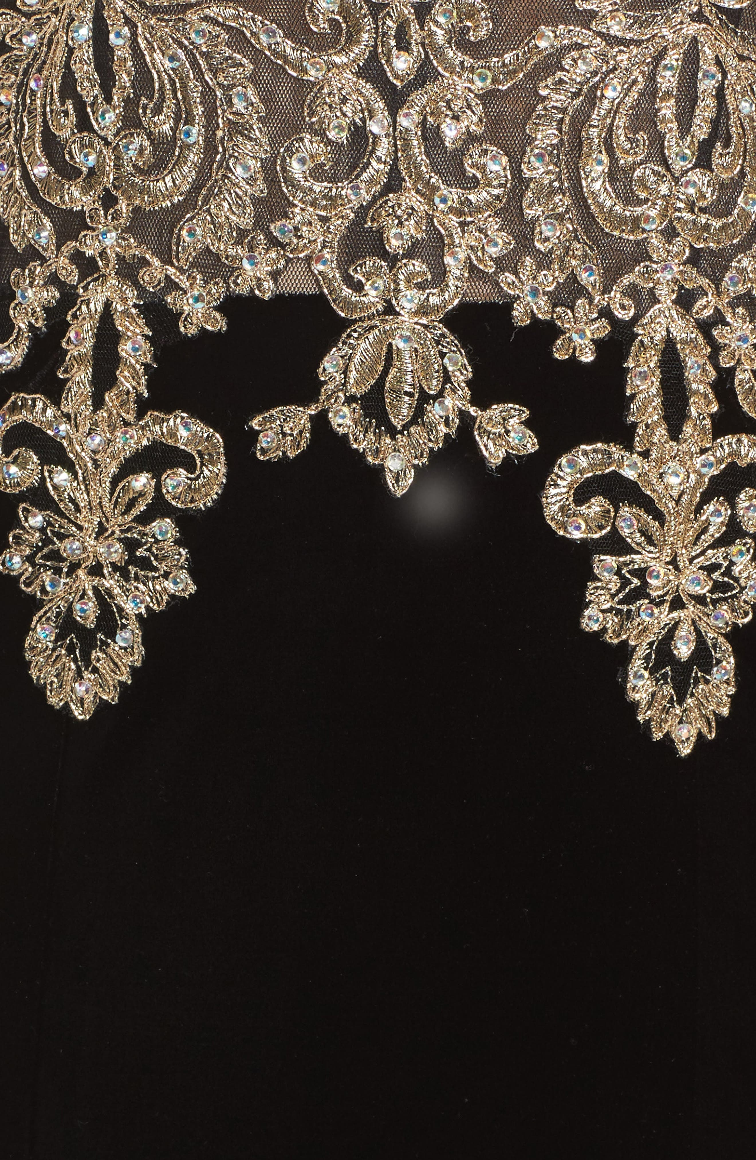 Alternate Image 5  - Xscape Crystal Embroidered Velvet Gown (Regular & Petite)