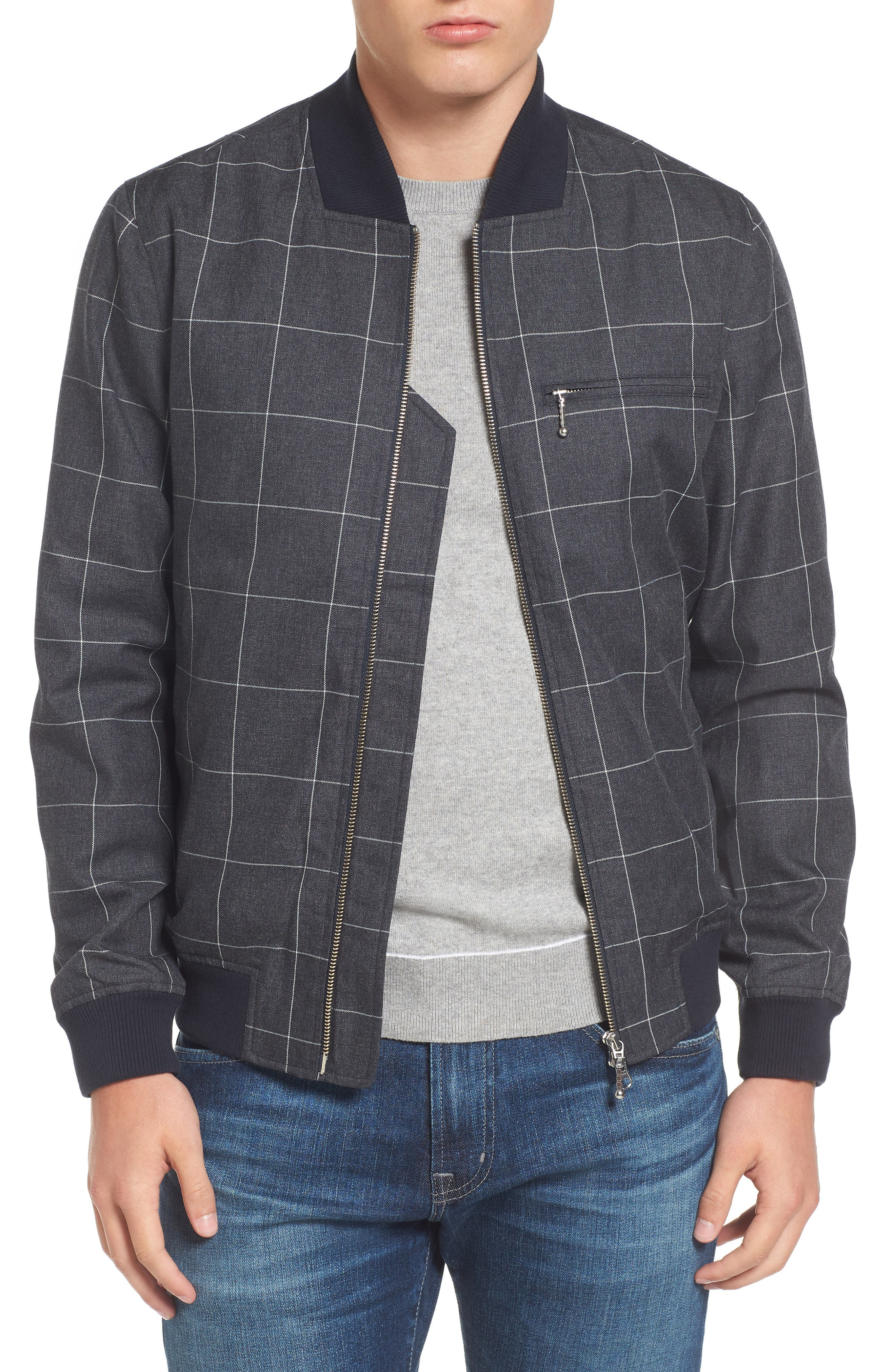 Check Flannel Bomber Jacket,                             Main thumbnail 1, color,                             Qsa Eclipse Blue/ Cliff