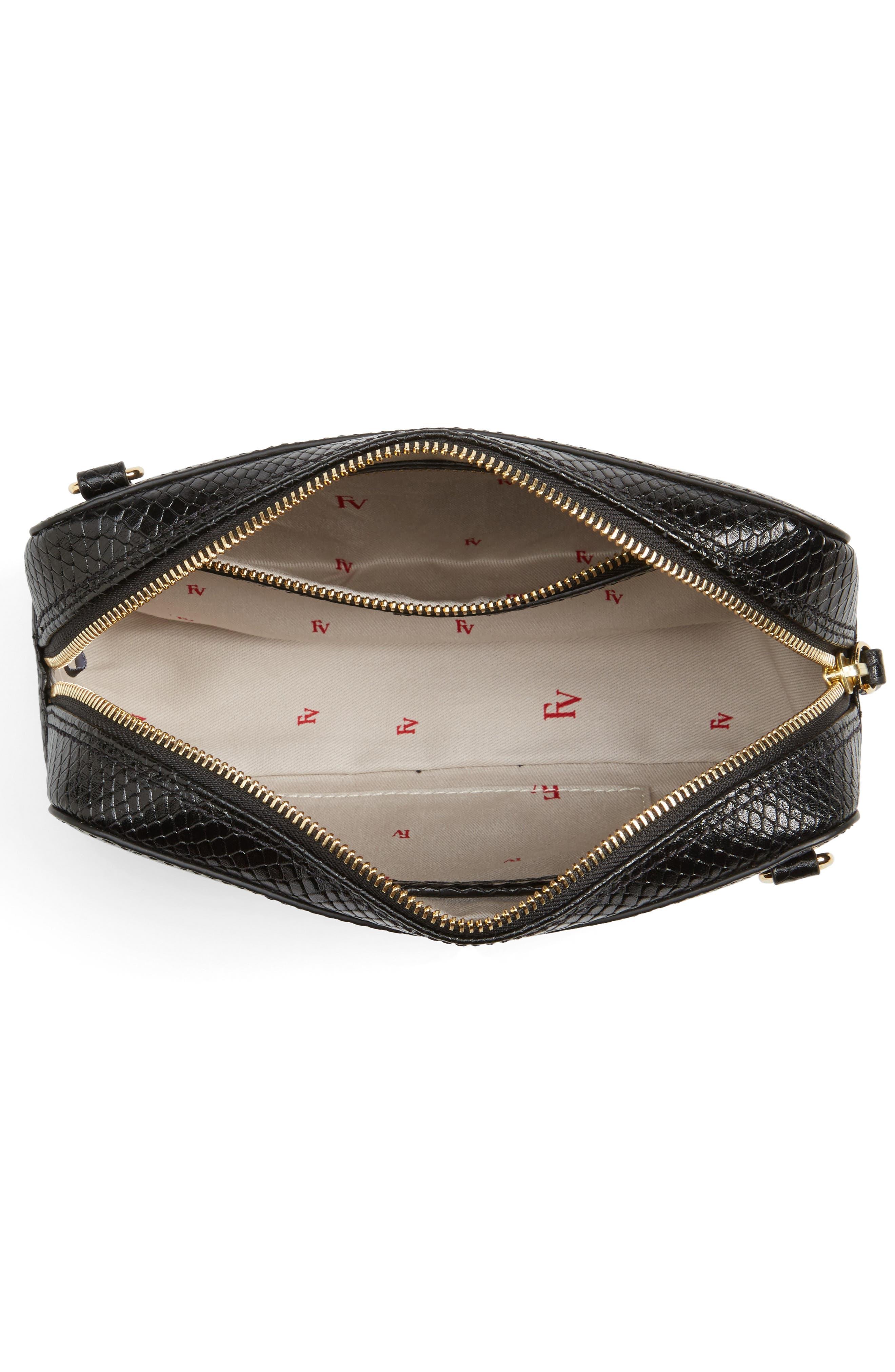 Snakeskin Embossed Leather Crossbody Bag,                             Alternate thumbnail 3, color,                             Black