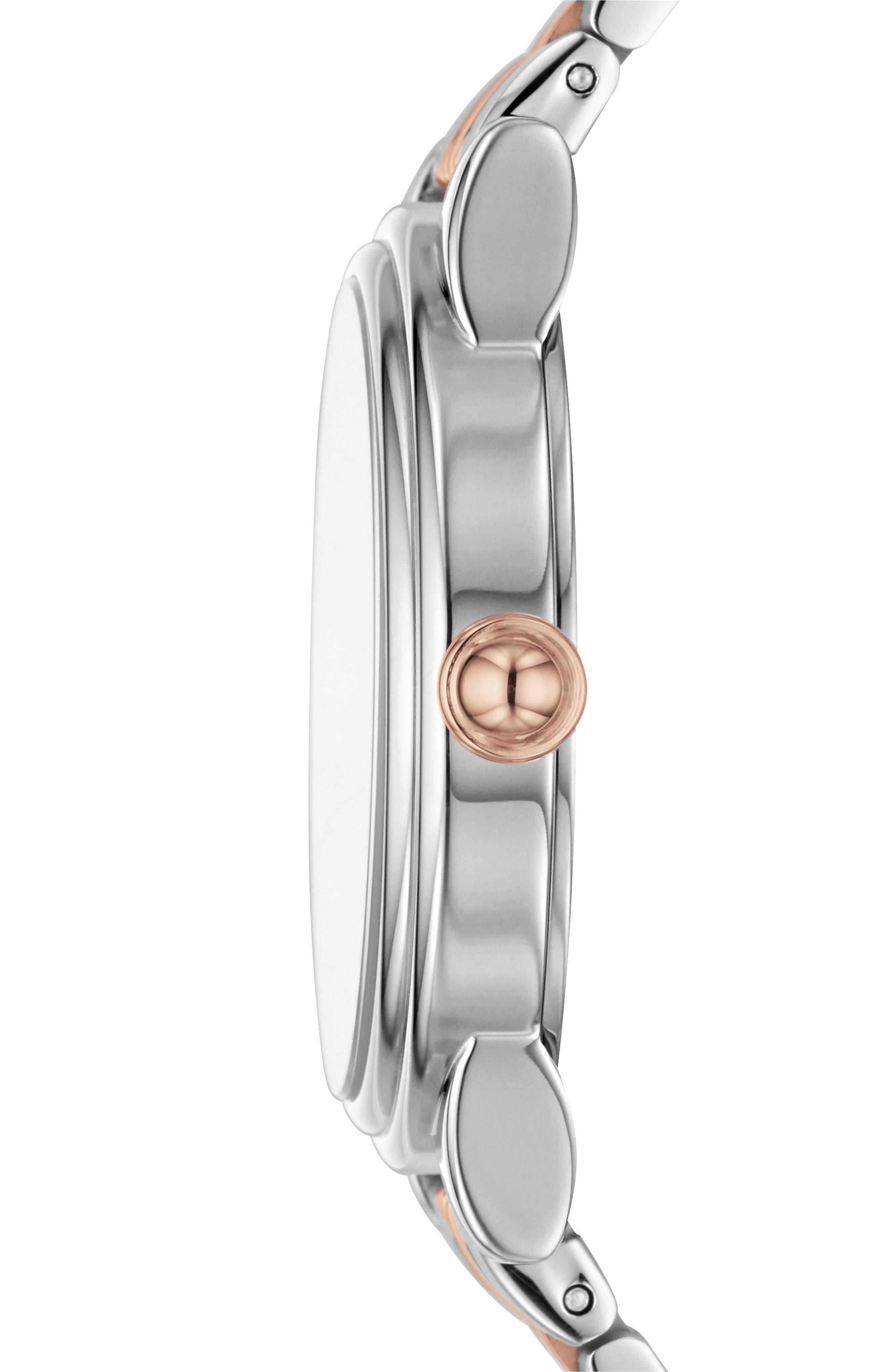 Corie Bracelet Watch, 36mm,                             Alternate thumbnail 2, color,                             Silver/ White/ Rose Gold