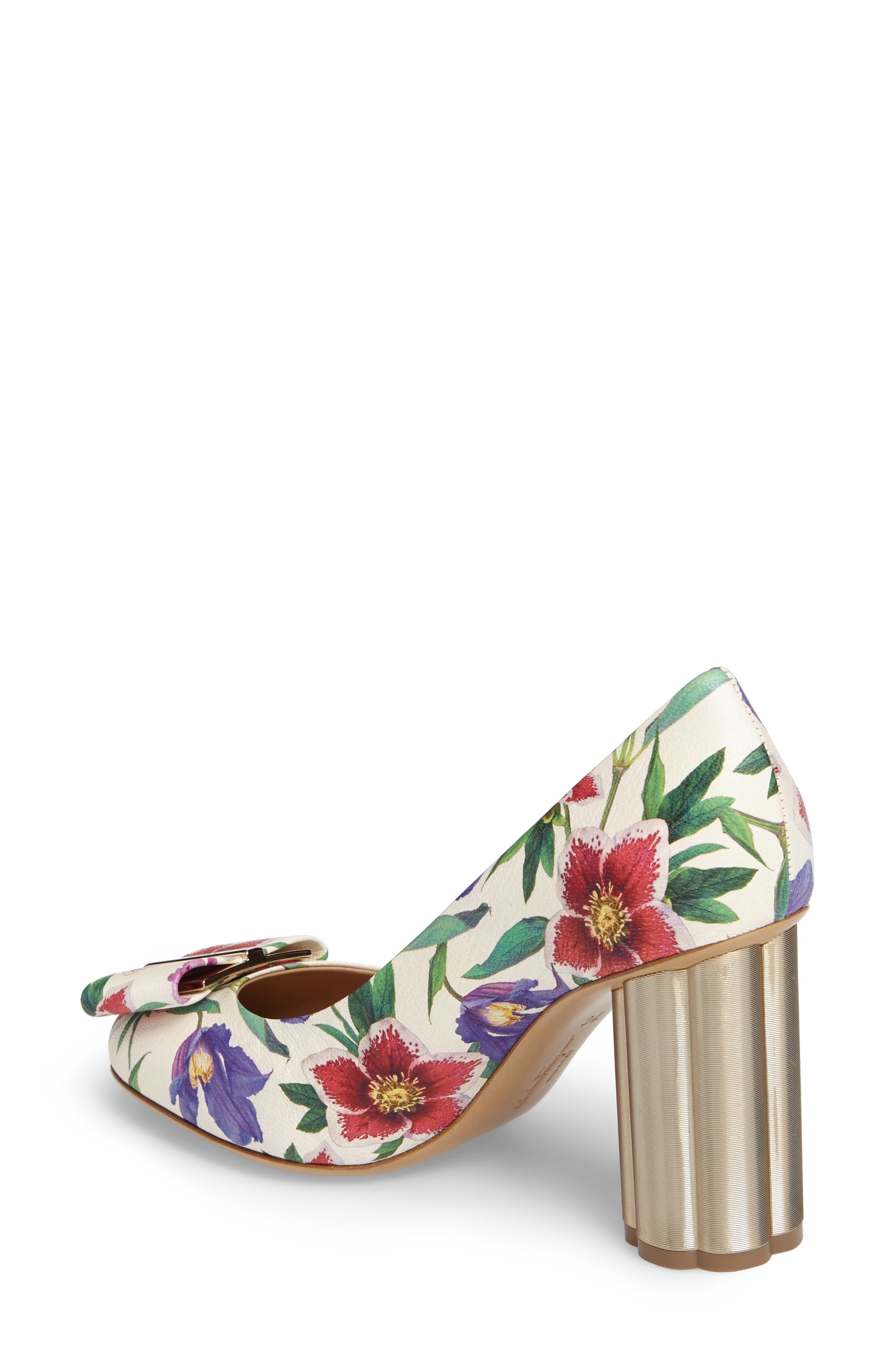 Capua Floral Pump,                             Alternate thumbnail 2, color,                             White Multi