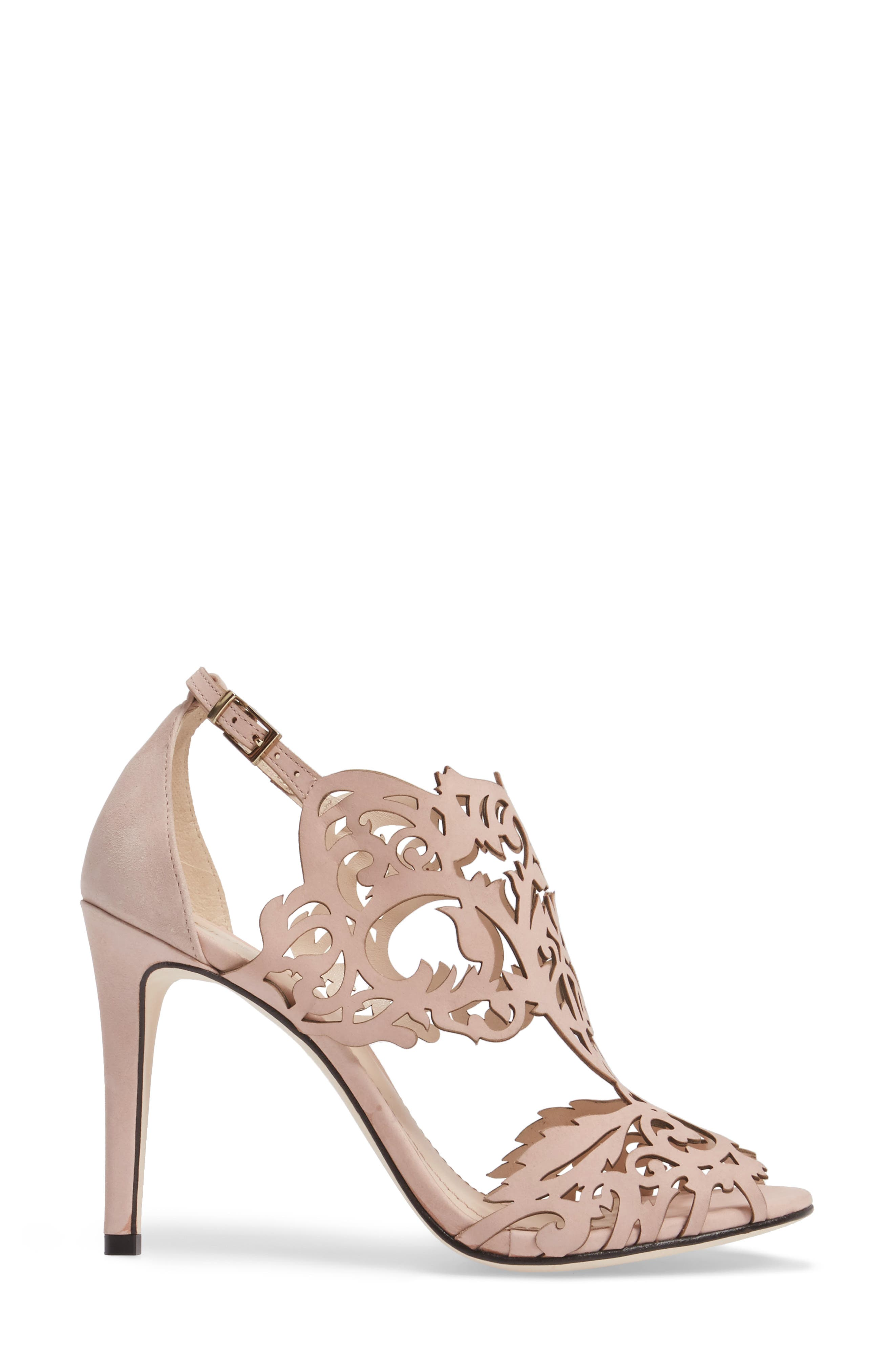 Marcela Laser Cutout Sandal,                             Alternate thumbnail 3, color,                             Blush Nubuck Leather