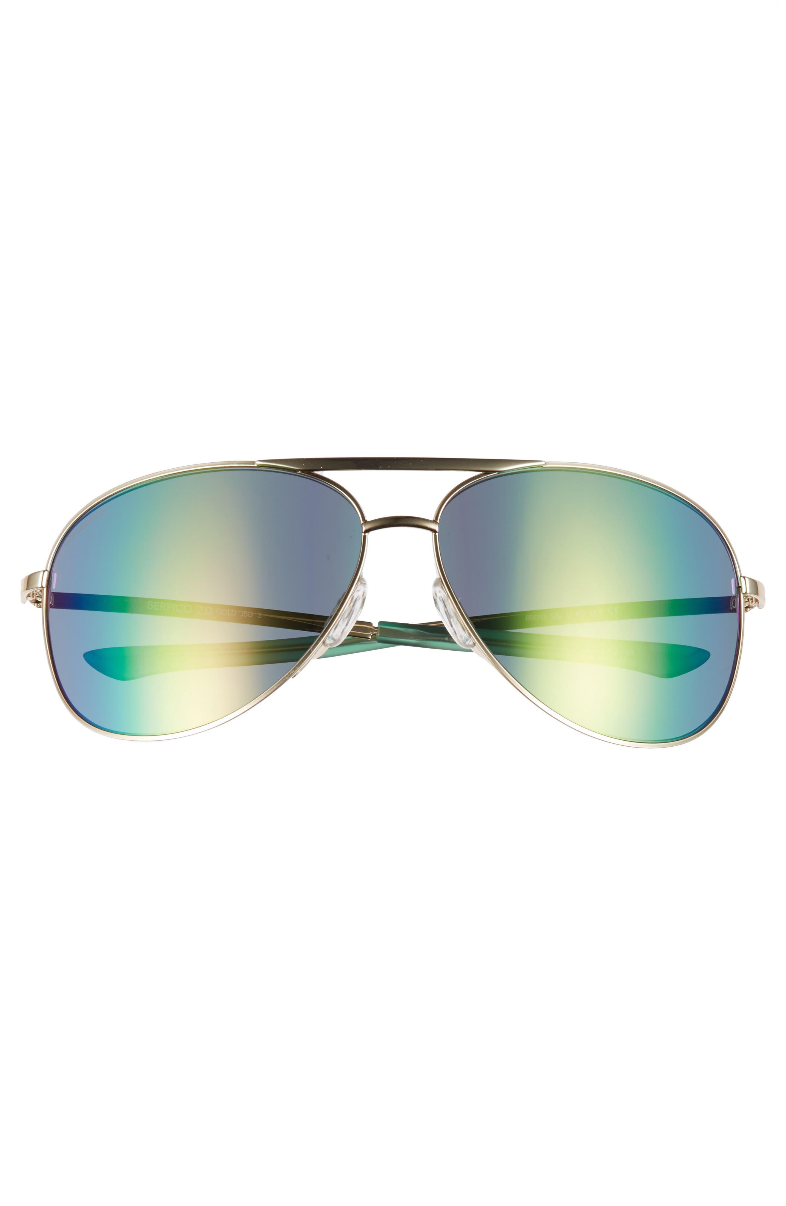 Serpico 2 65mm Mirrored ChromaPop<sup>™</sup> Polarized Aviator Sunglasses,                             Alternate thumbnail 3, color,                             Gold/ Green Mirror
