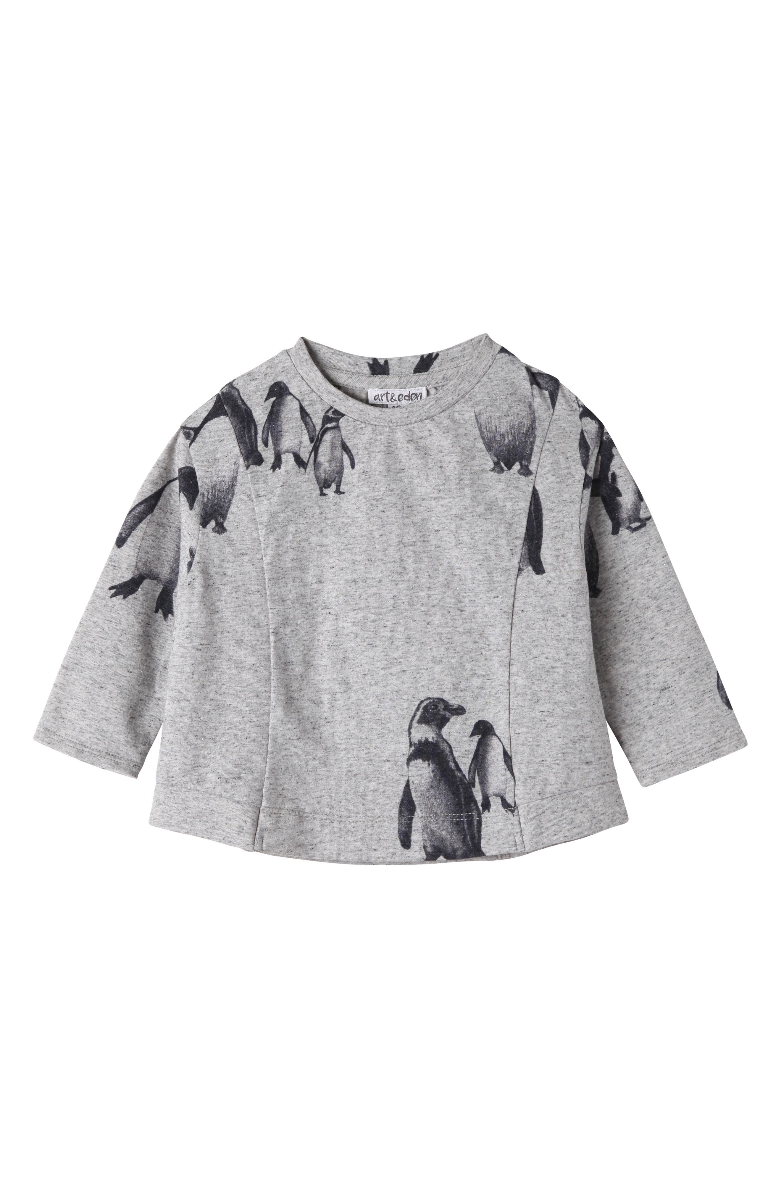 Penguin Graphic Tee,                             Main thumbnail 1, color,                             Grey