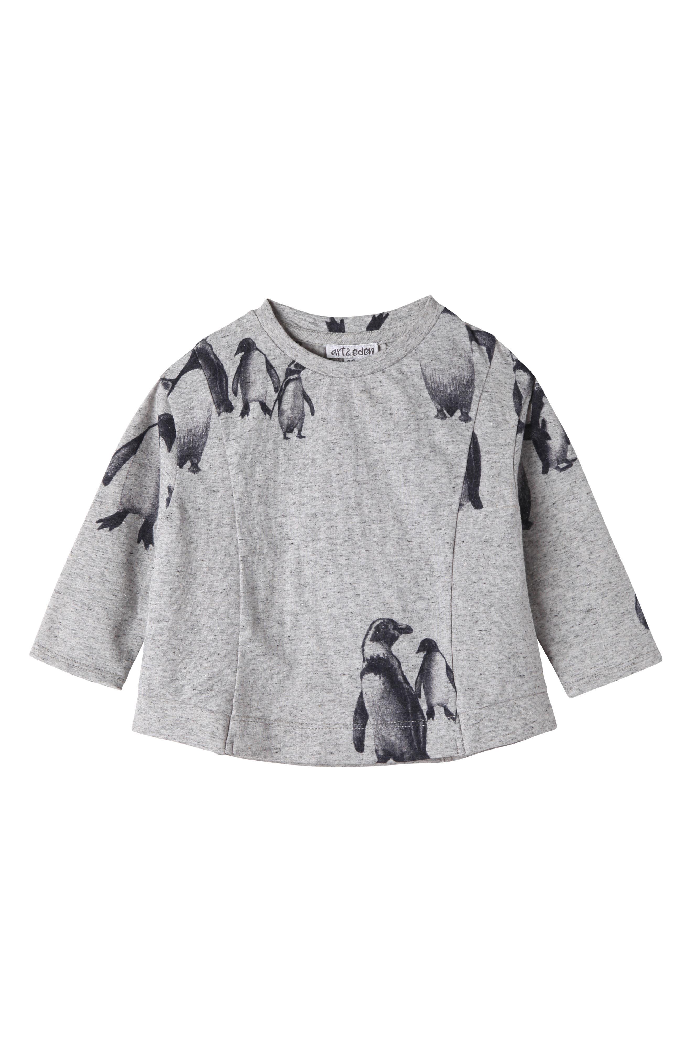 Main Image - Art & Eden Penguin Graphic Tee (Baby Girls)