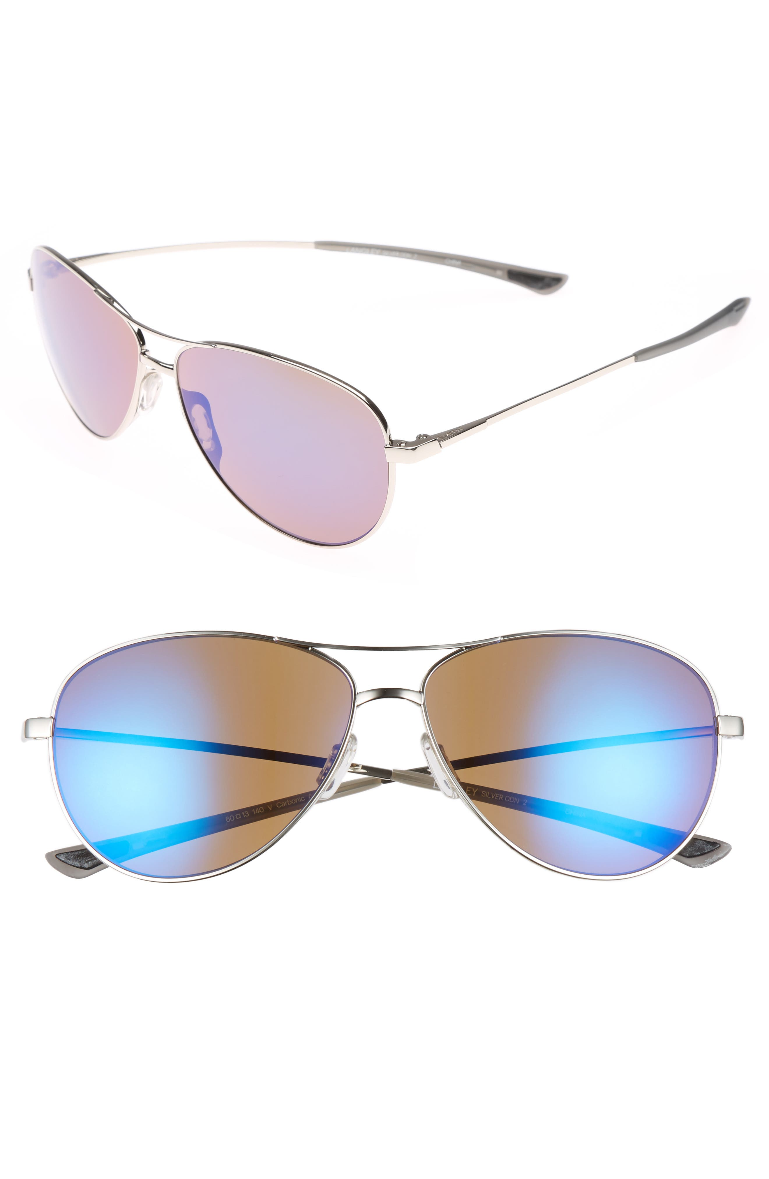 'LANGLEY' 60MM AVIATOR SUNGLASSES - SILVER/ BLUE