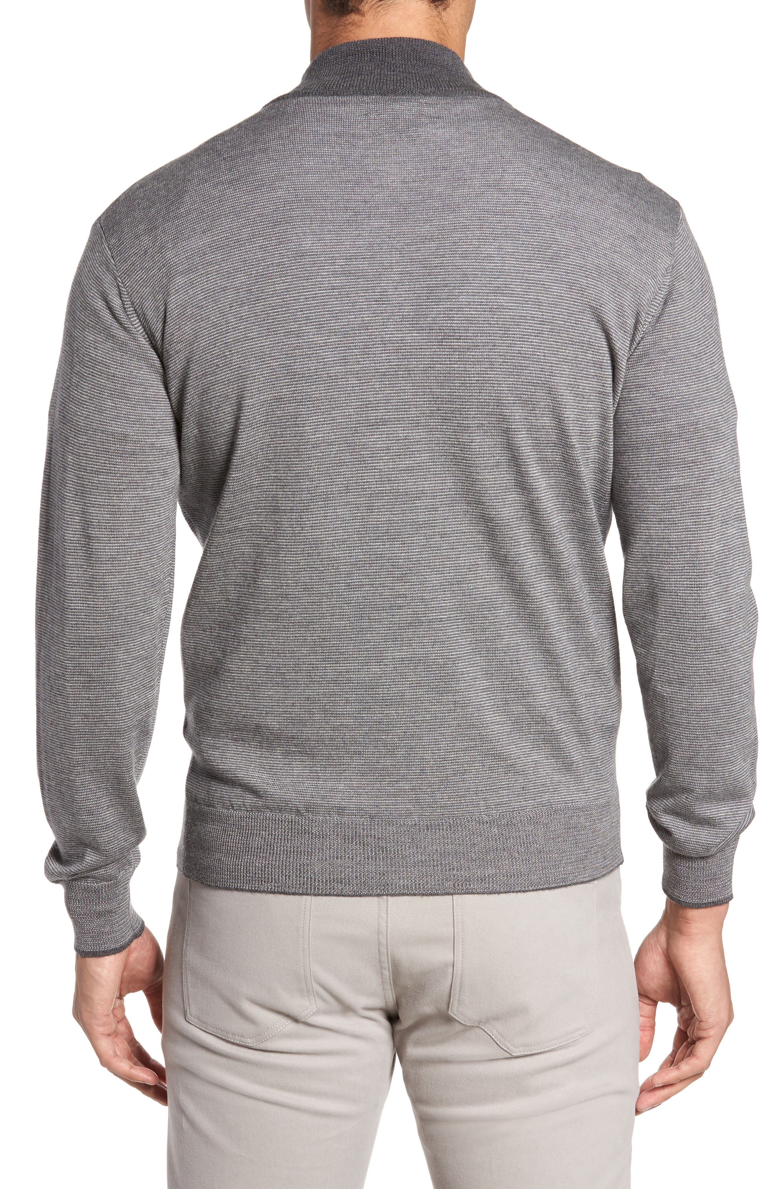 Needle Stripe Merino Blend Quarter Zip Pullover,                             Alternate thumbnail 2, color,                             Nickel