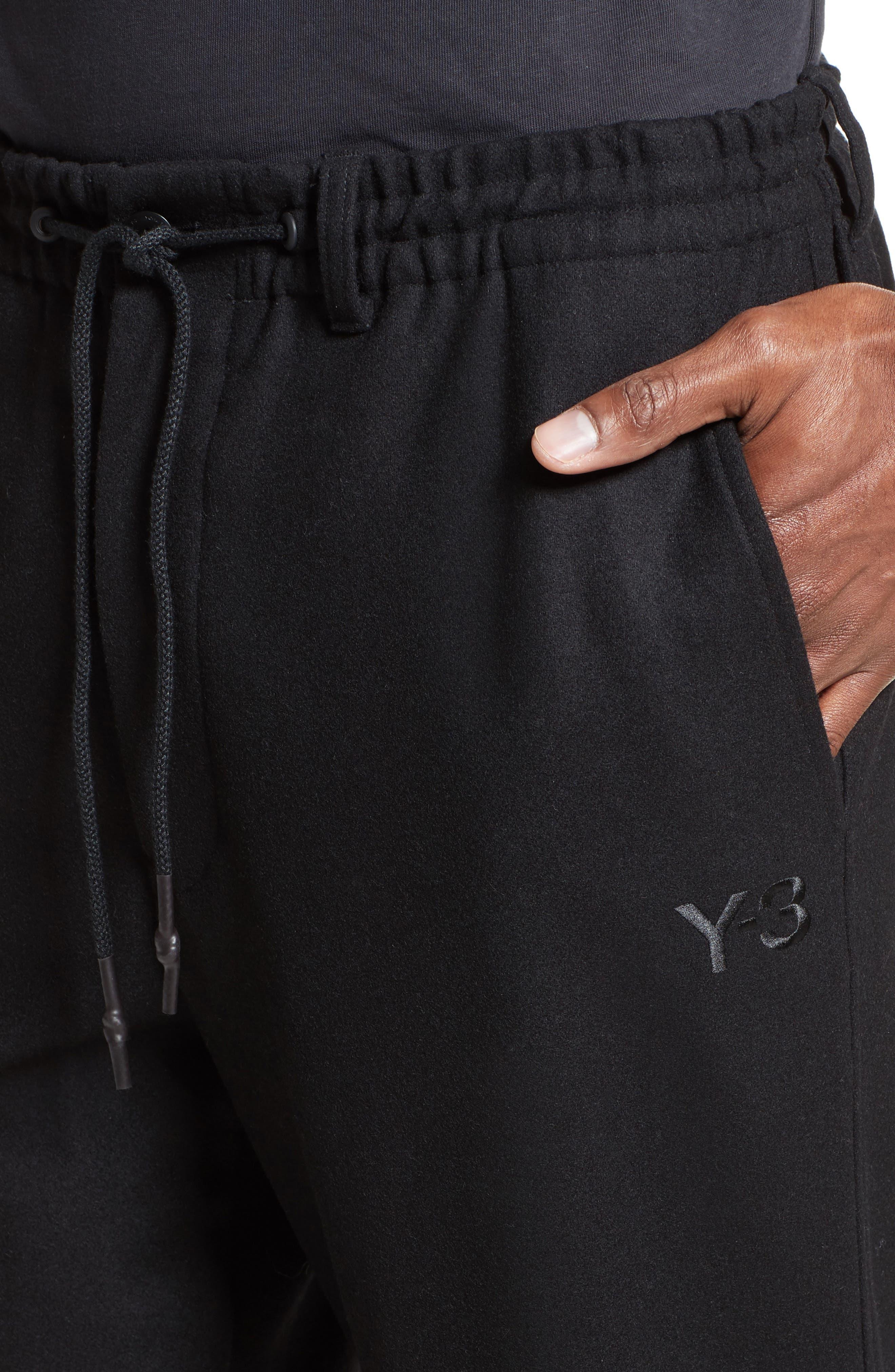 Cropped Wool Blend Pants,                             Alternate thumbnail 4, color,                             Black