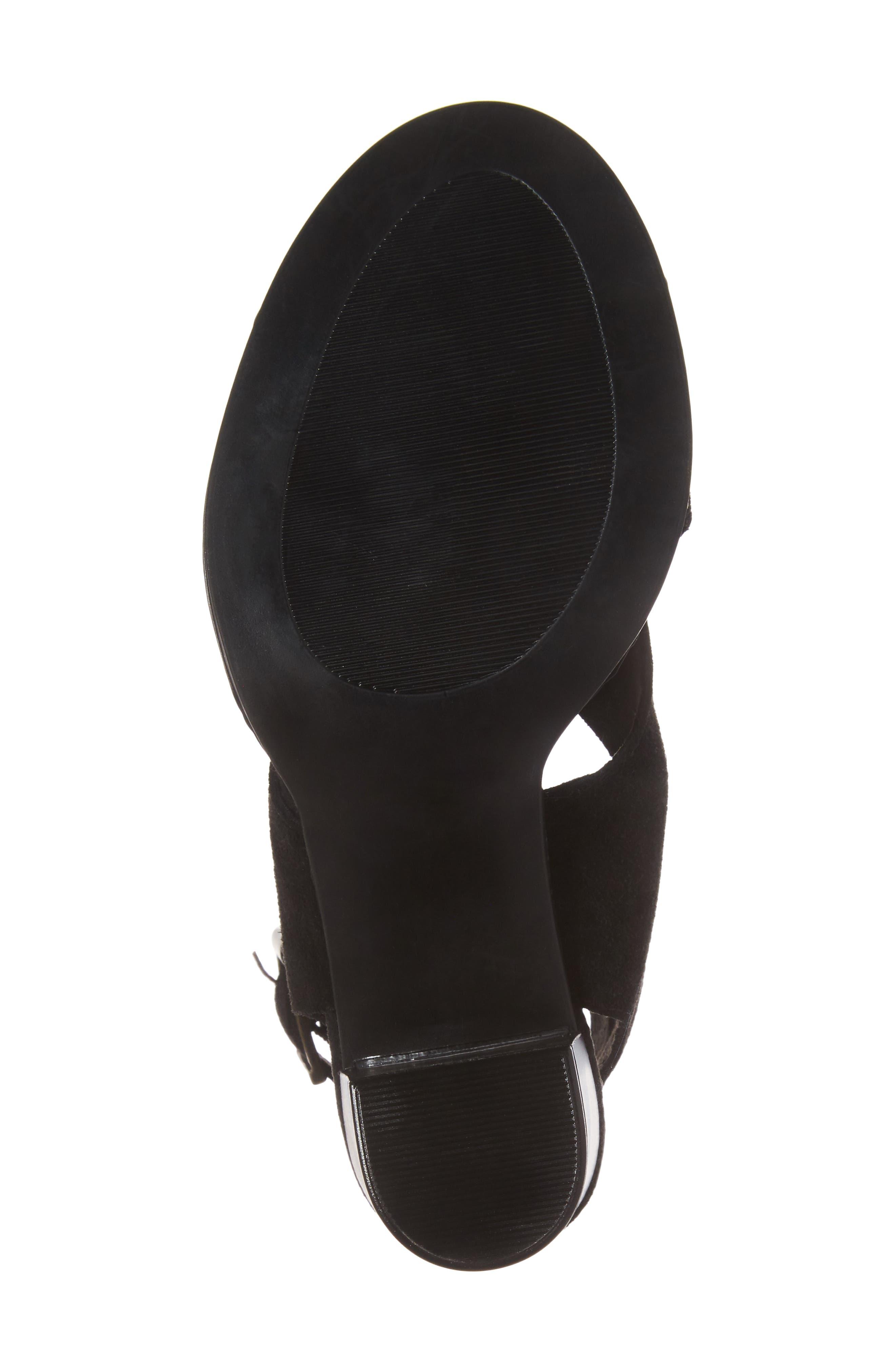 Lil Ankle Wrap Sandal,                             Alternate thumbnail 6, color,                             Black Suede