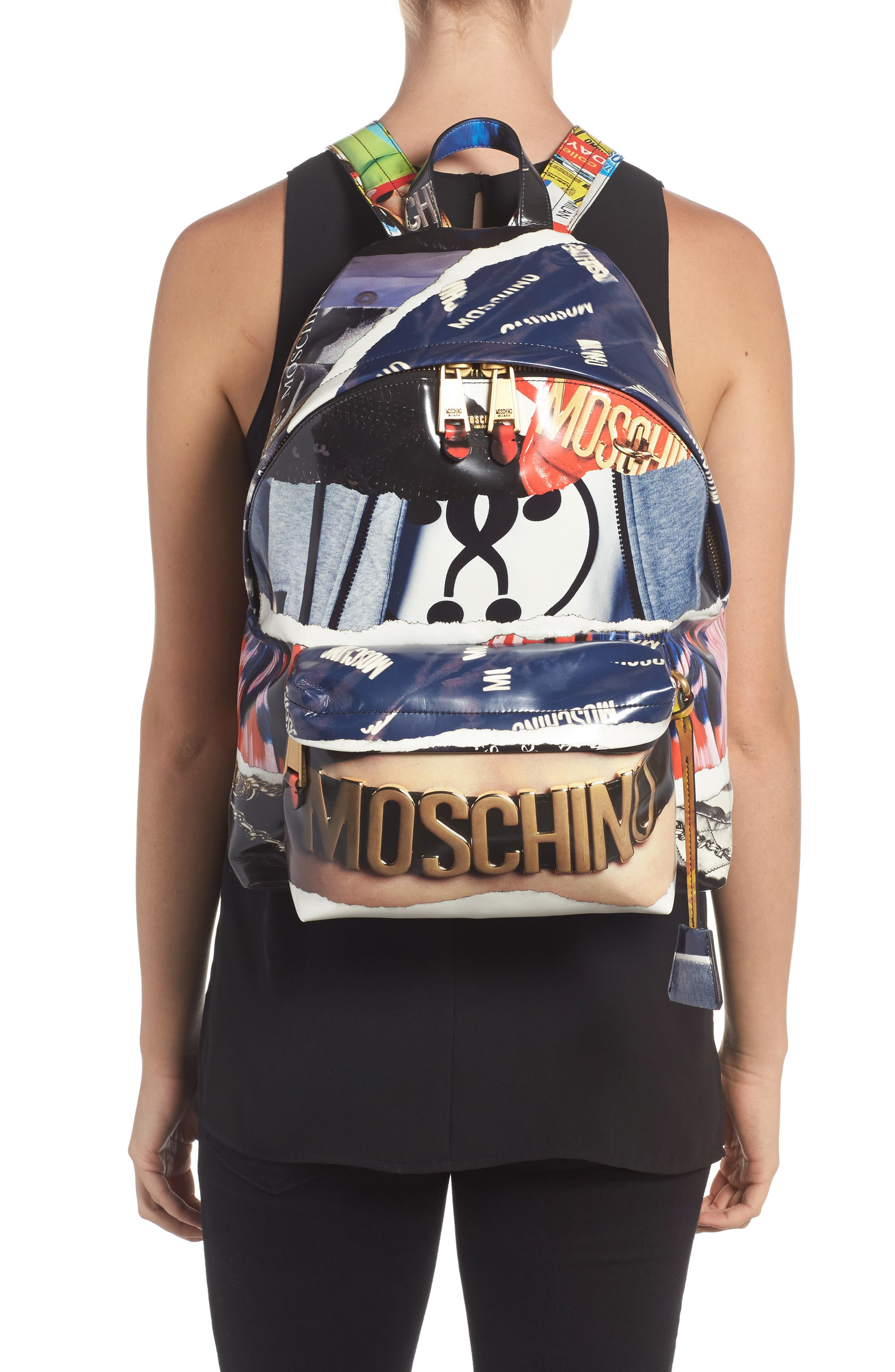 Editorial Logo Faux Leather Backpack,                             Alternate thumbnail 2, color,                             Blue Multi