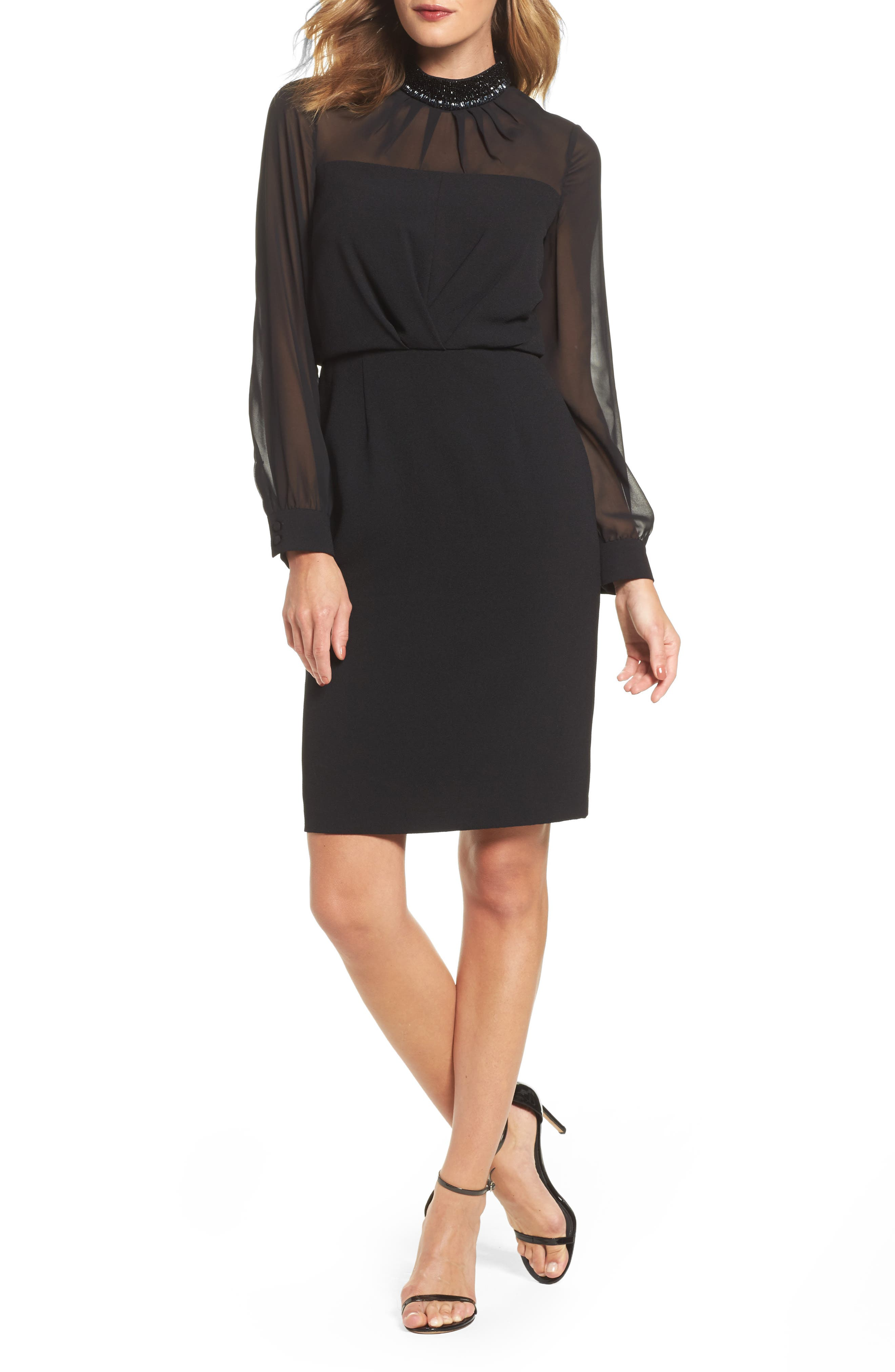 Jewel Neck Sheath Dress,                         Main,                         color, Black