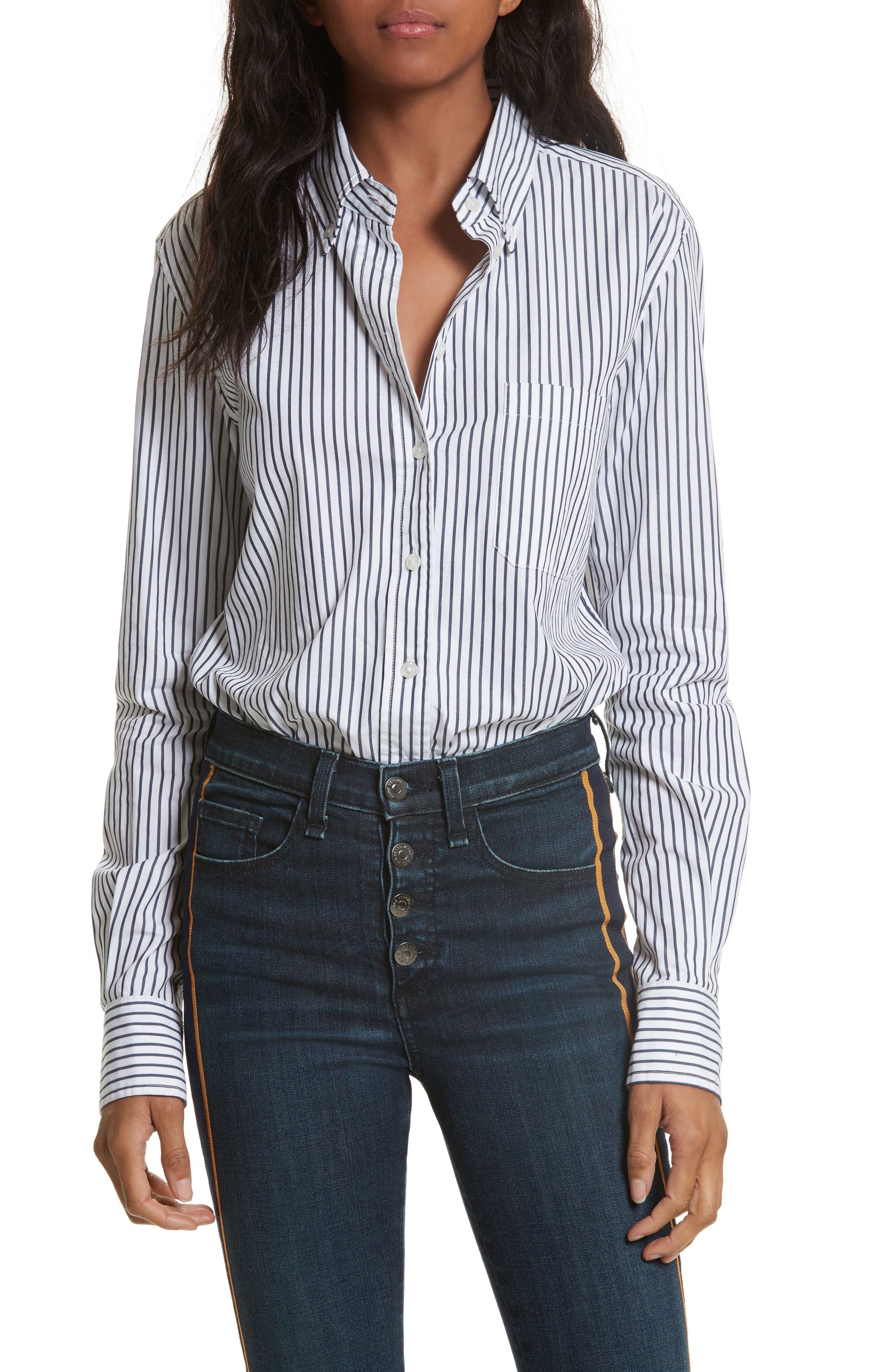Stripe Bodysuit,                         Main,                         color, Navy/ White