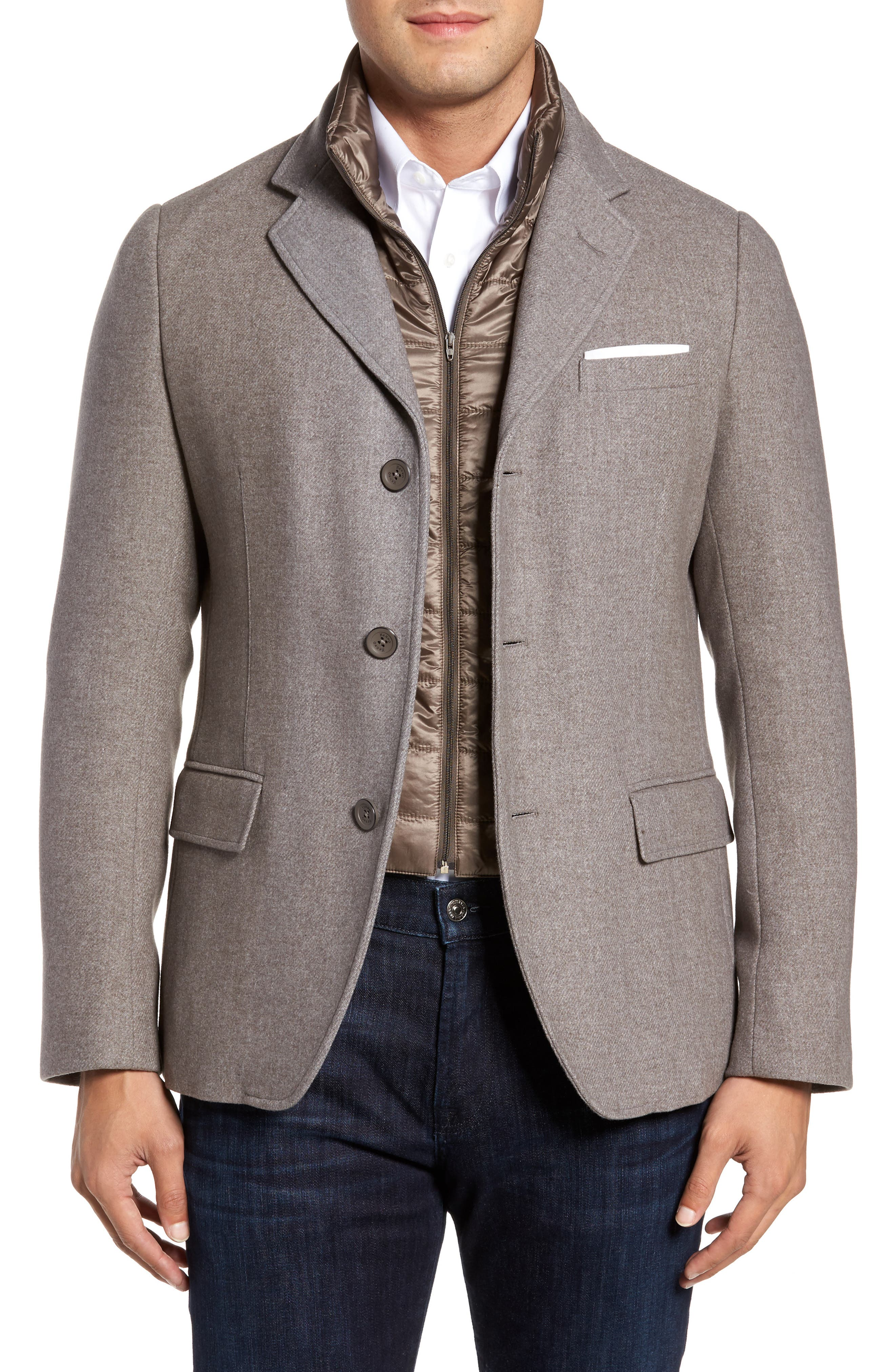 Wool Blend Blazer with Removable Quilted Bib,                             Main thumbnail 1, color,                             Oatmeal