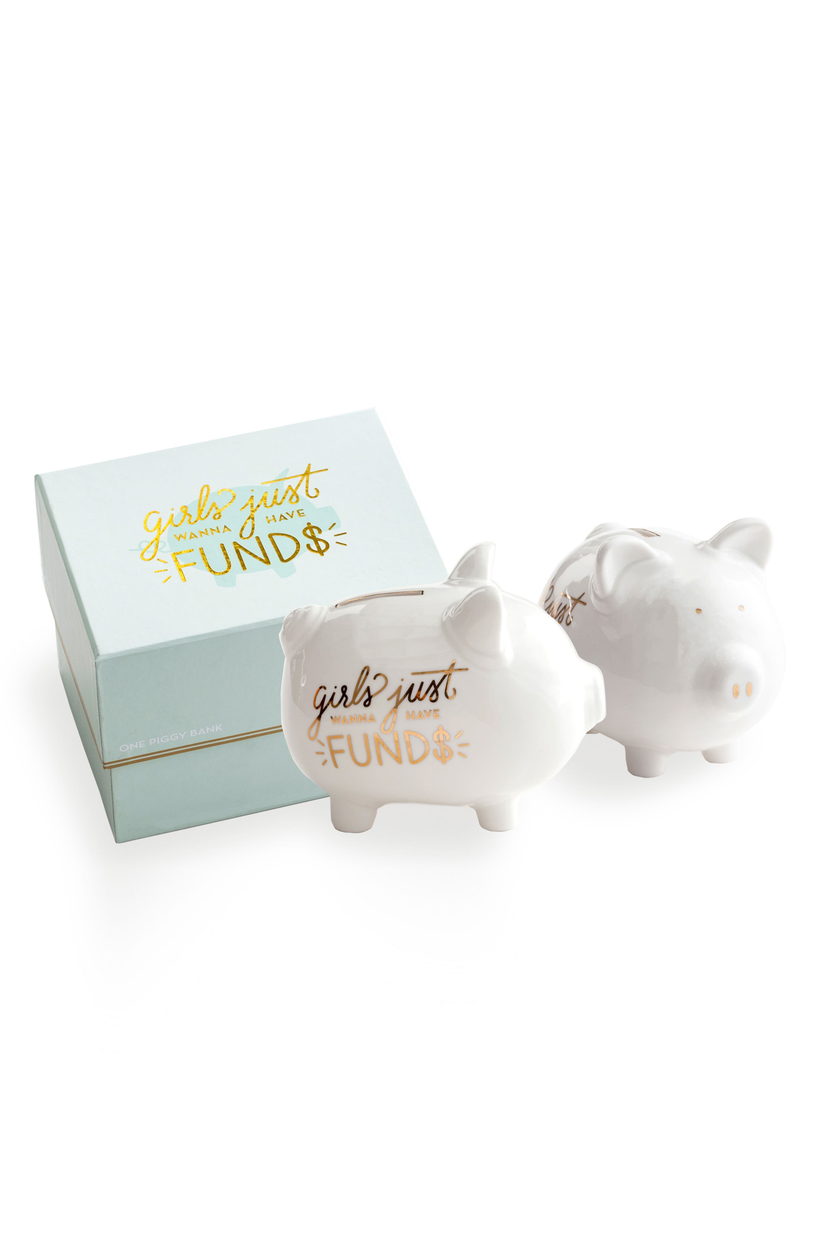 Girls Just Wanna Have Funds Porcelain Piggy Bank,                             Main thumbnail 1, color,                             White
