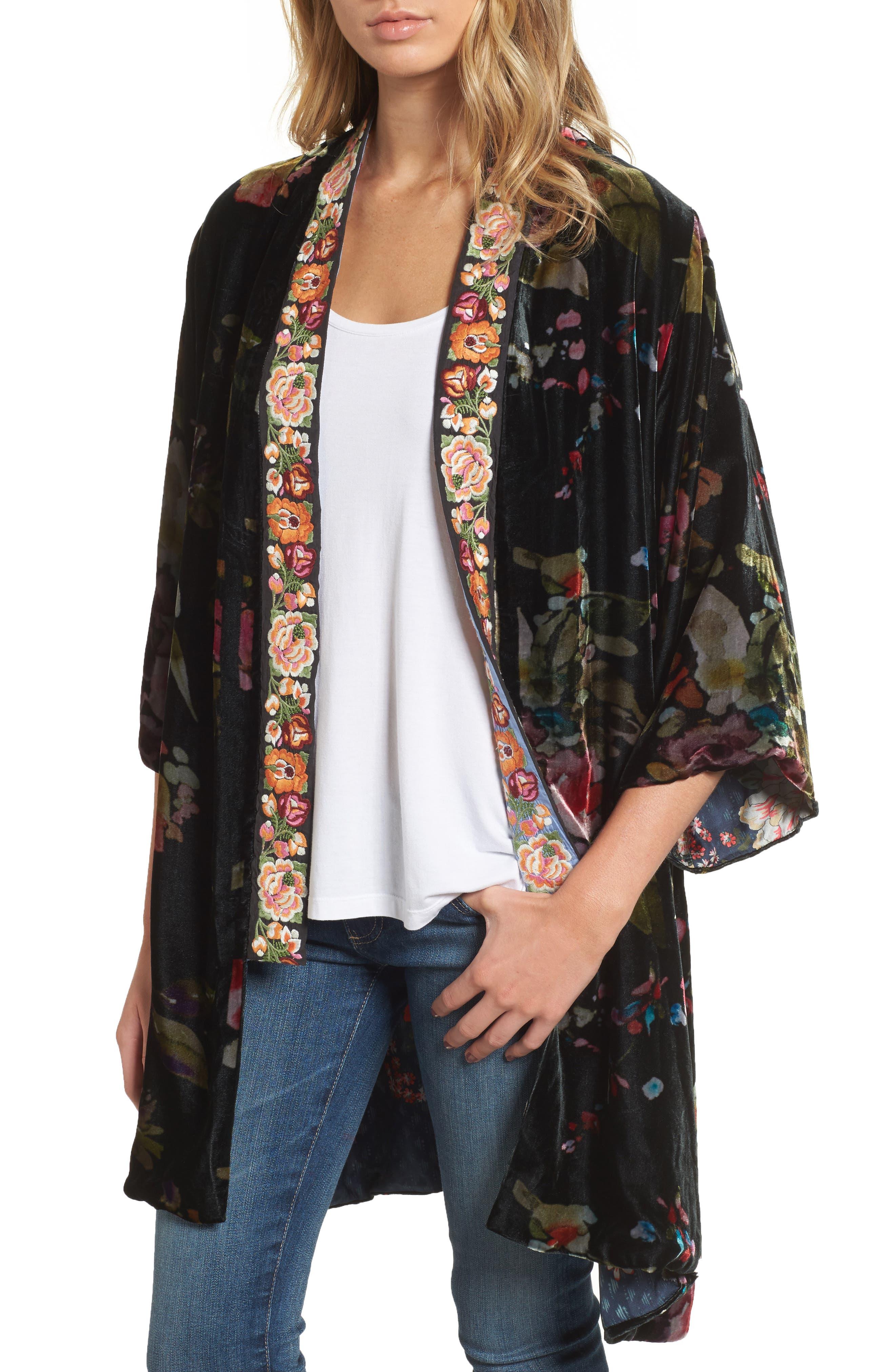 Johnny Was Kehlani Embroidered Velvet Kimono