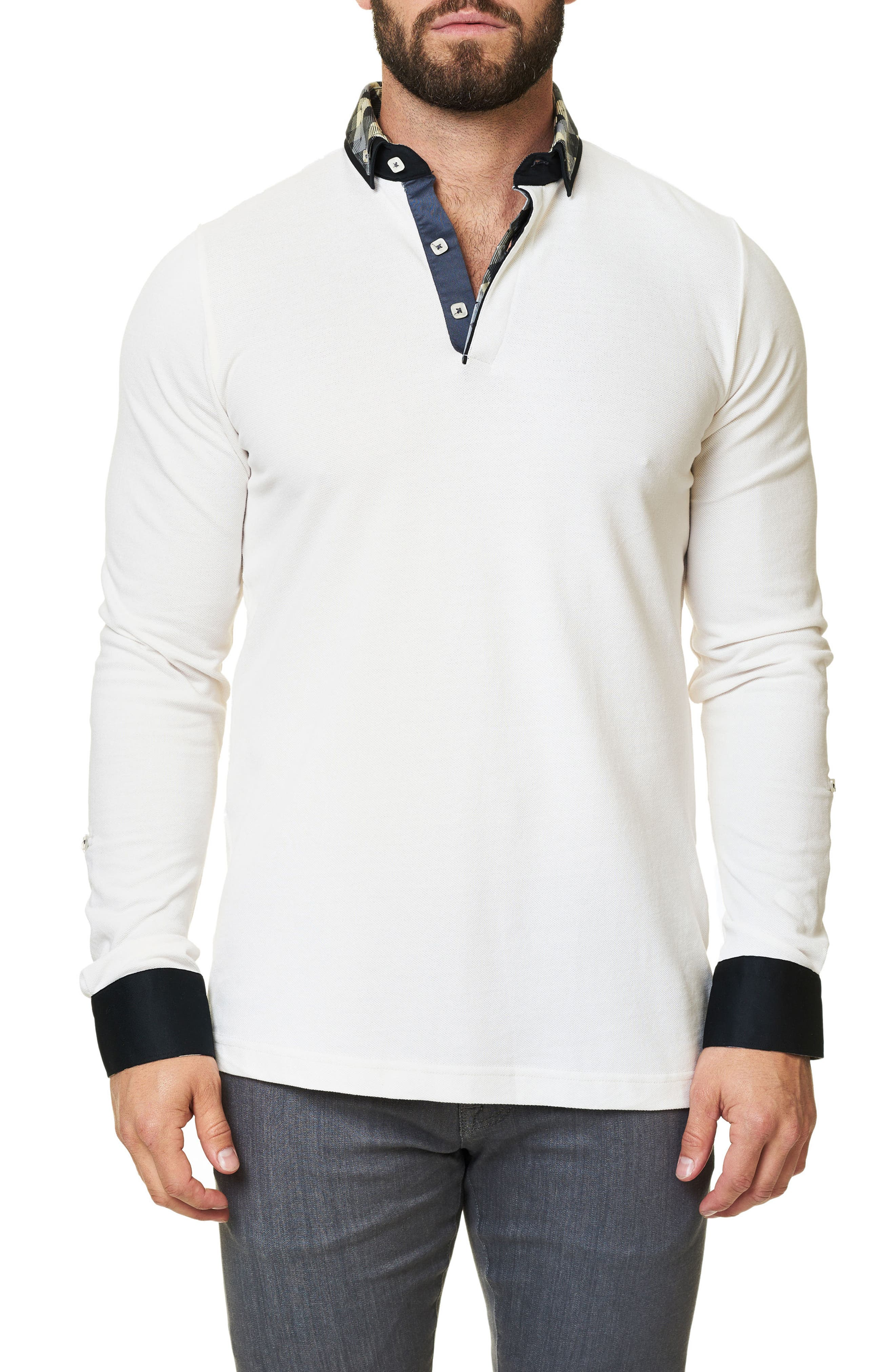 Long Sleeve Polo,                         Main,                         color, Beige