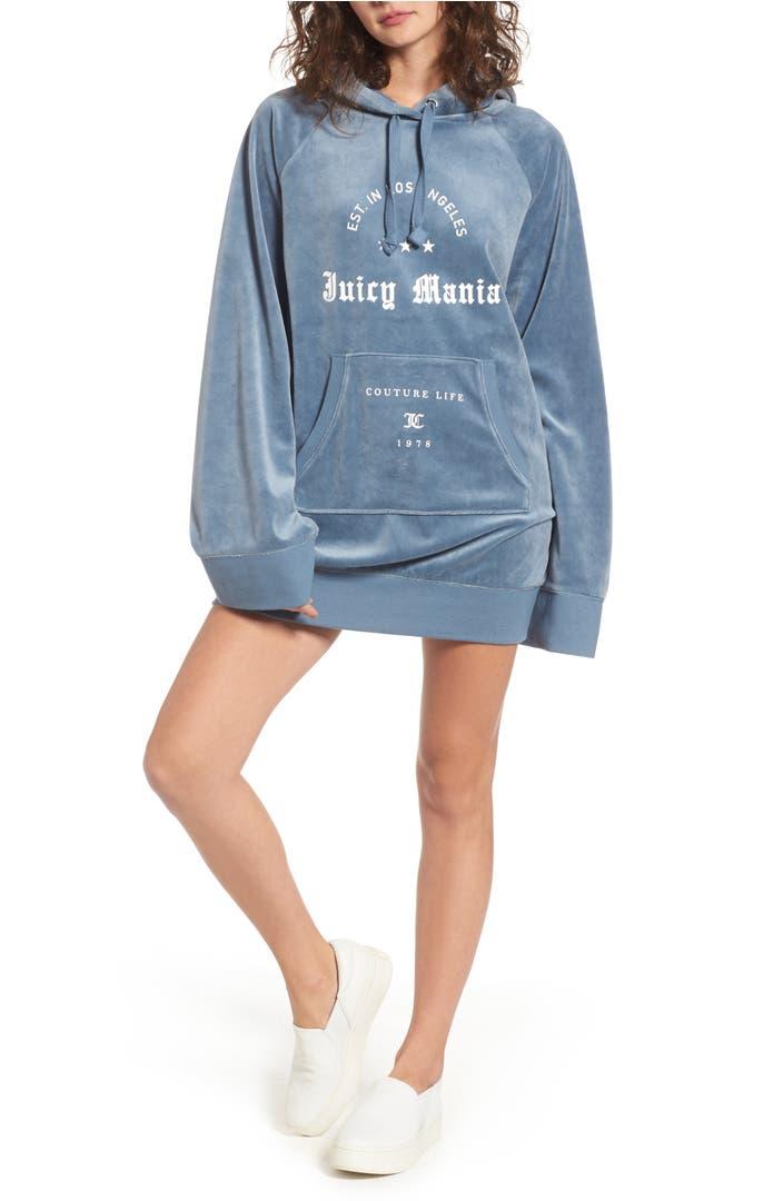 juicy couture juicy mania oversize velour hoodie dress nordstrom. Black Bedroom Furniture Sets. Home Design Ideas