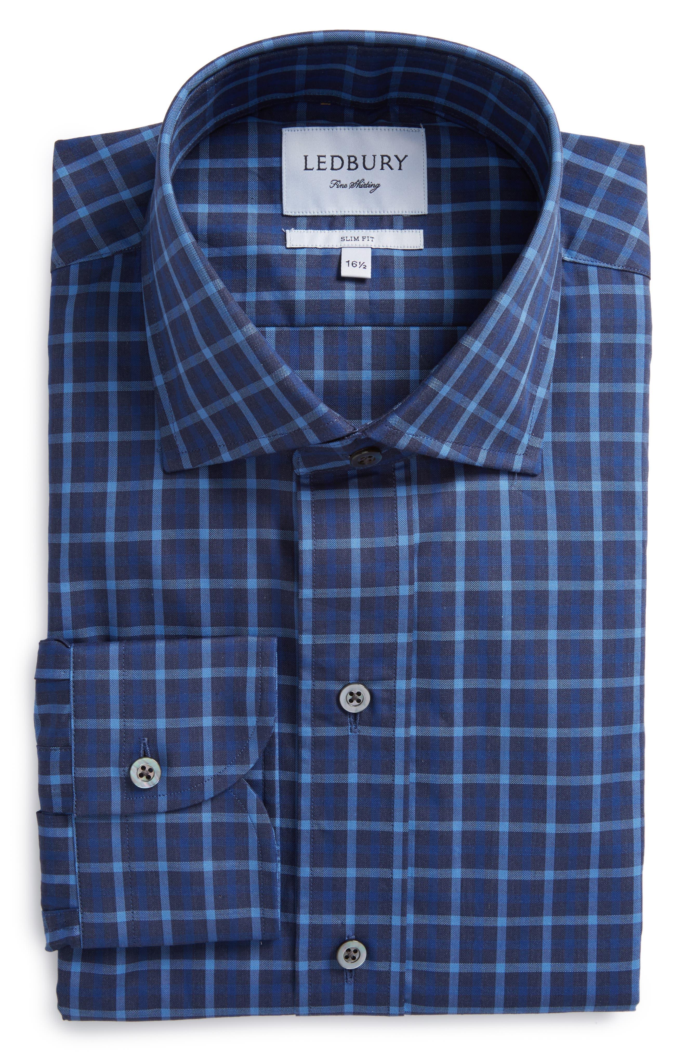 Slim Fit Check Dress Shirt,                         Main,                         color, Navy