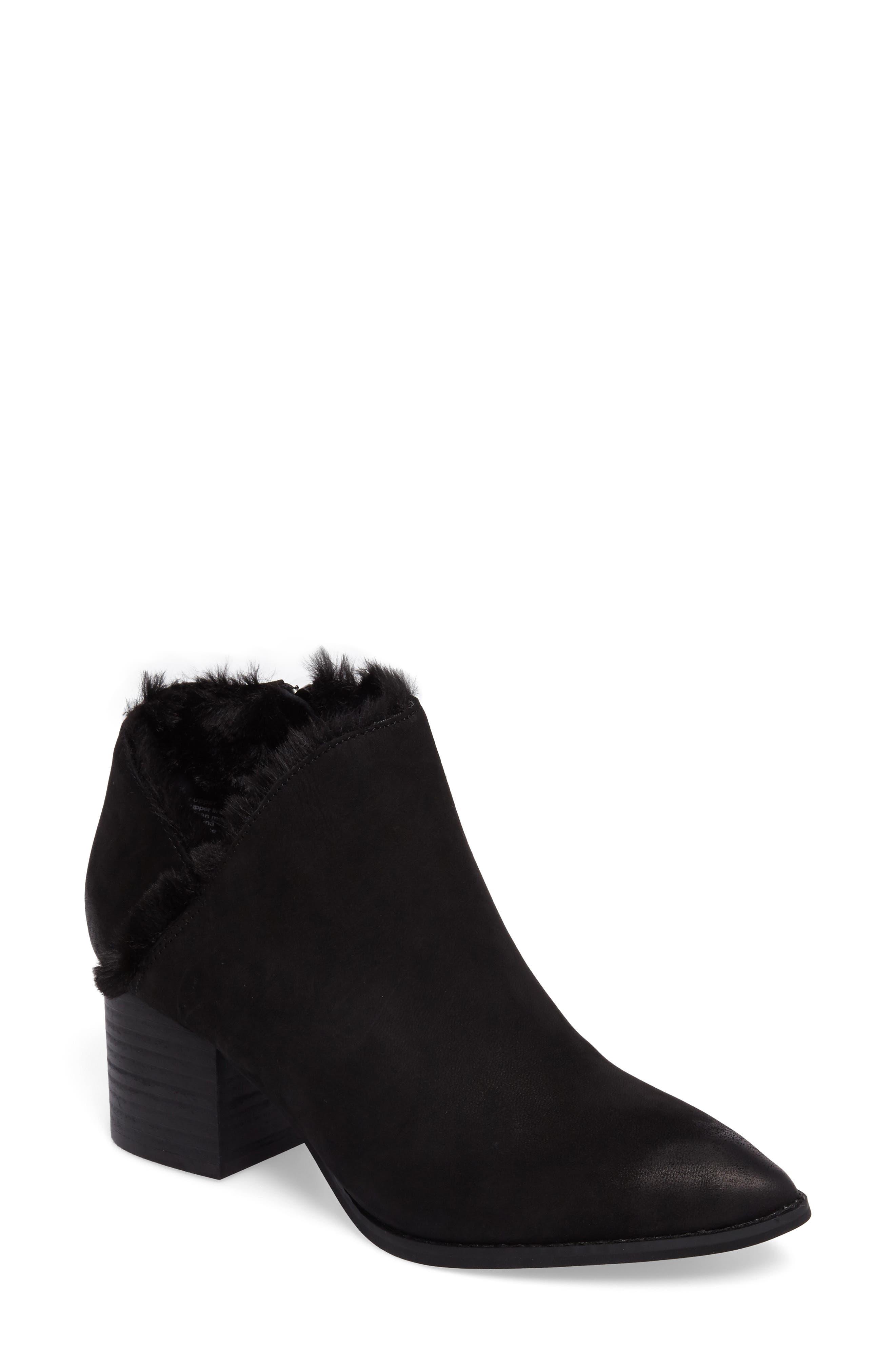 Preview Faux Fur Lined Bootie,                             Main thumbnail 1, color,                             Black Leather
