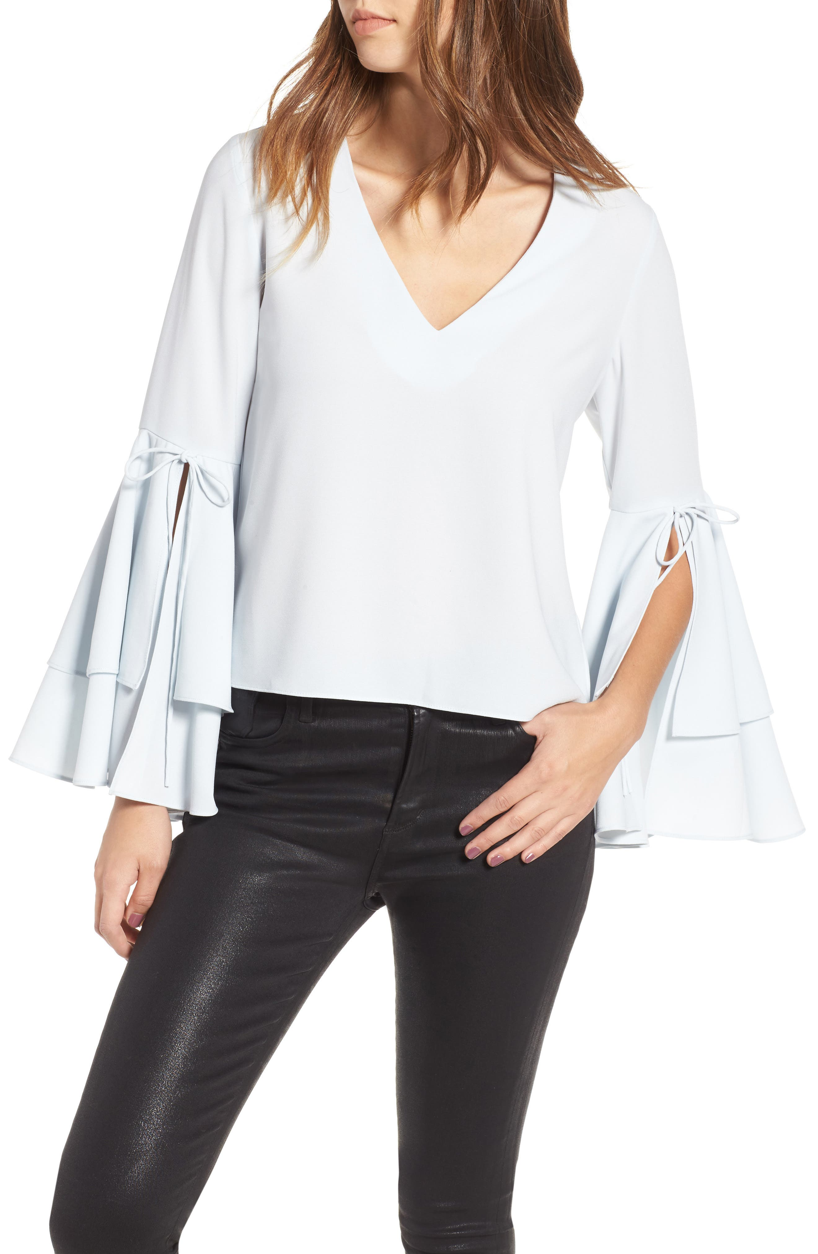 Ruffle Bell Sleeve Top,                         Main,                         color, Blue Flow