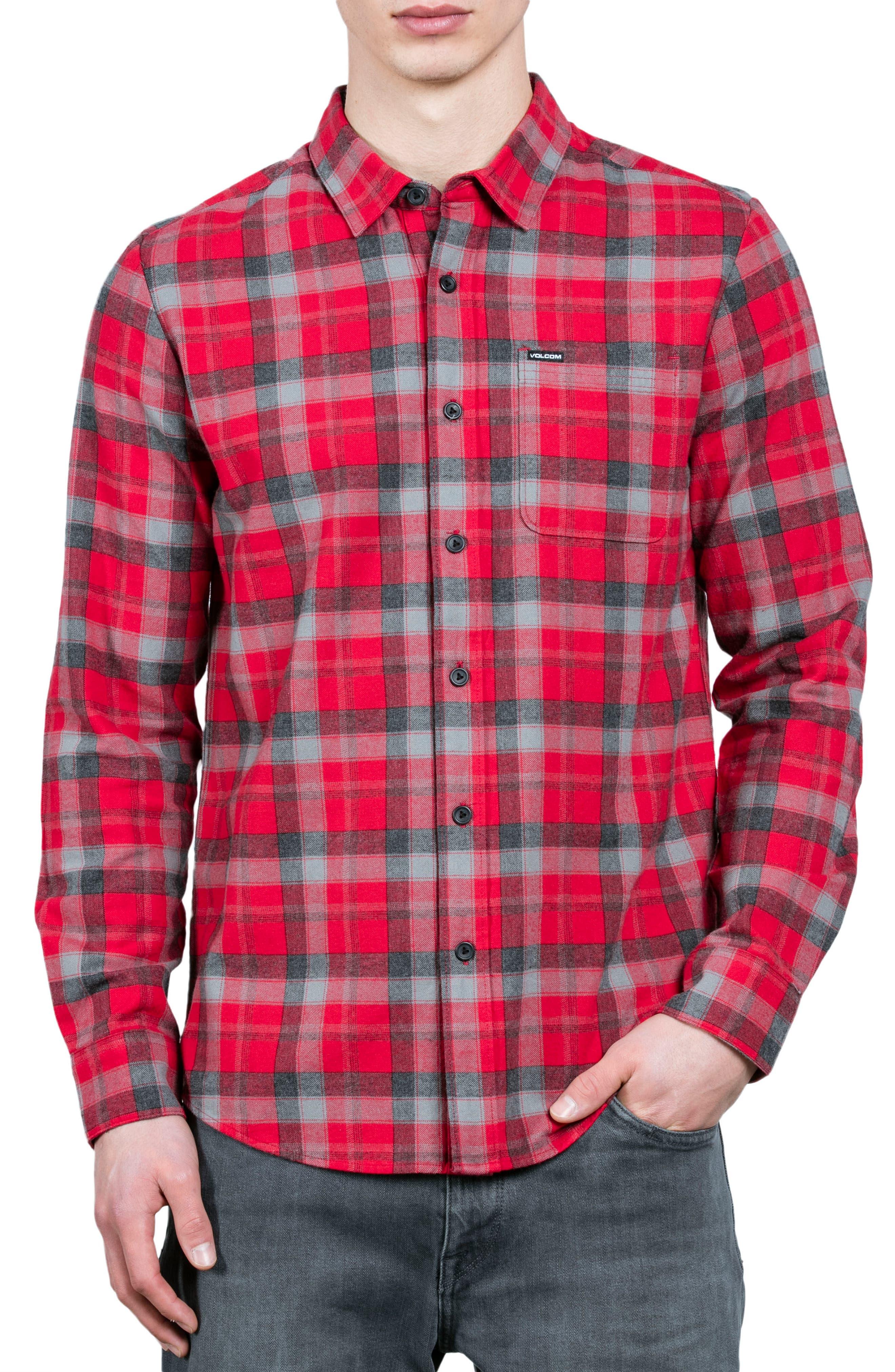 Volcom Caden Plaid Flannel Sport Shirt