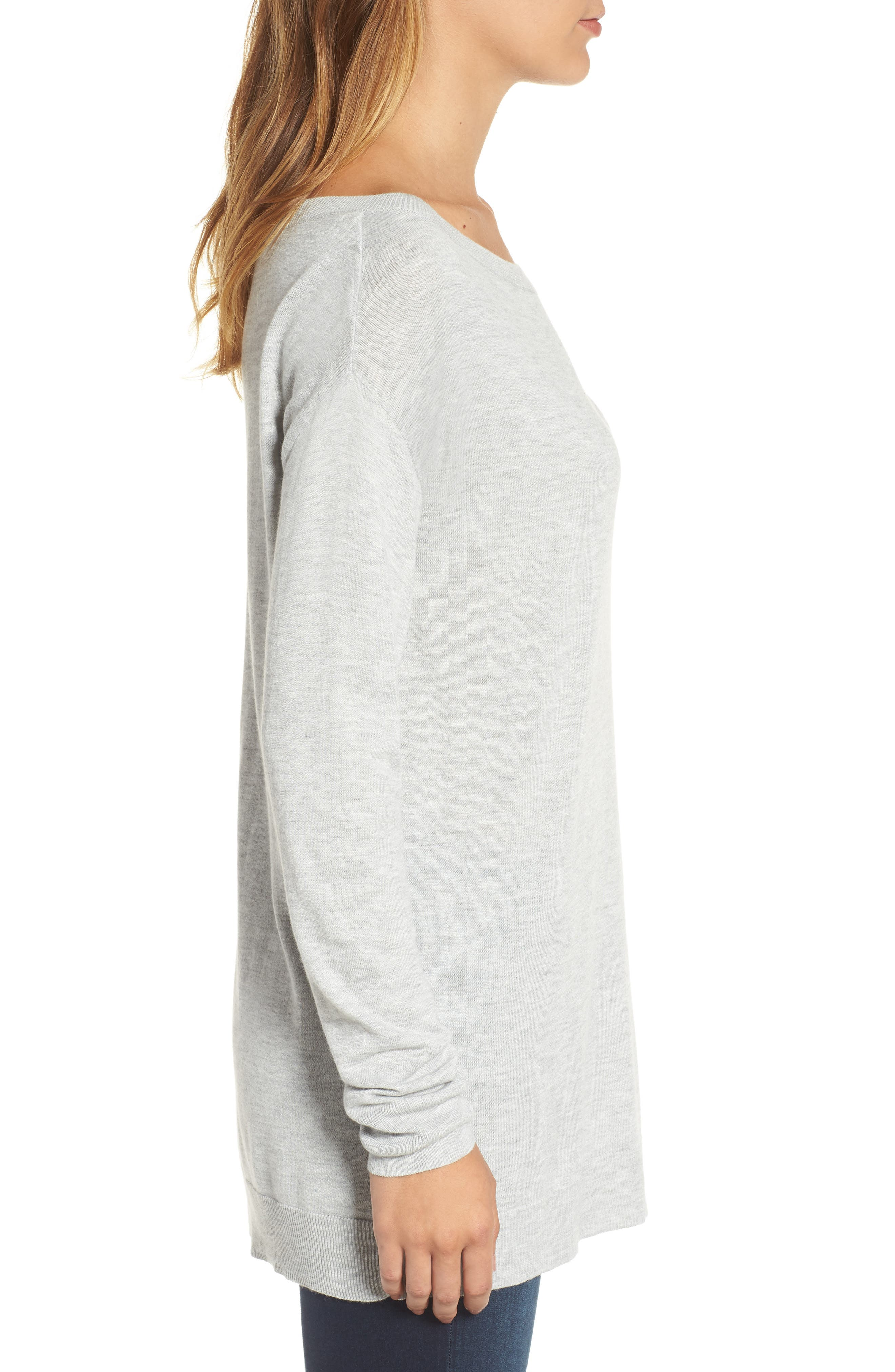 Boatneck Tunic Sweater,                             Alternate thumbnail 4, color,                             Heather Light Grey