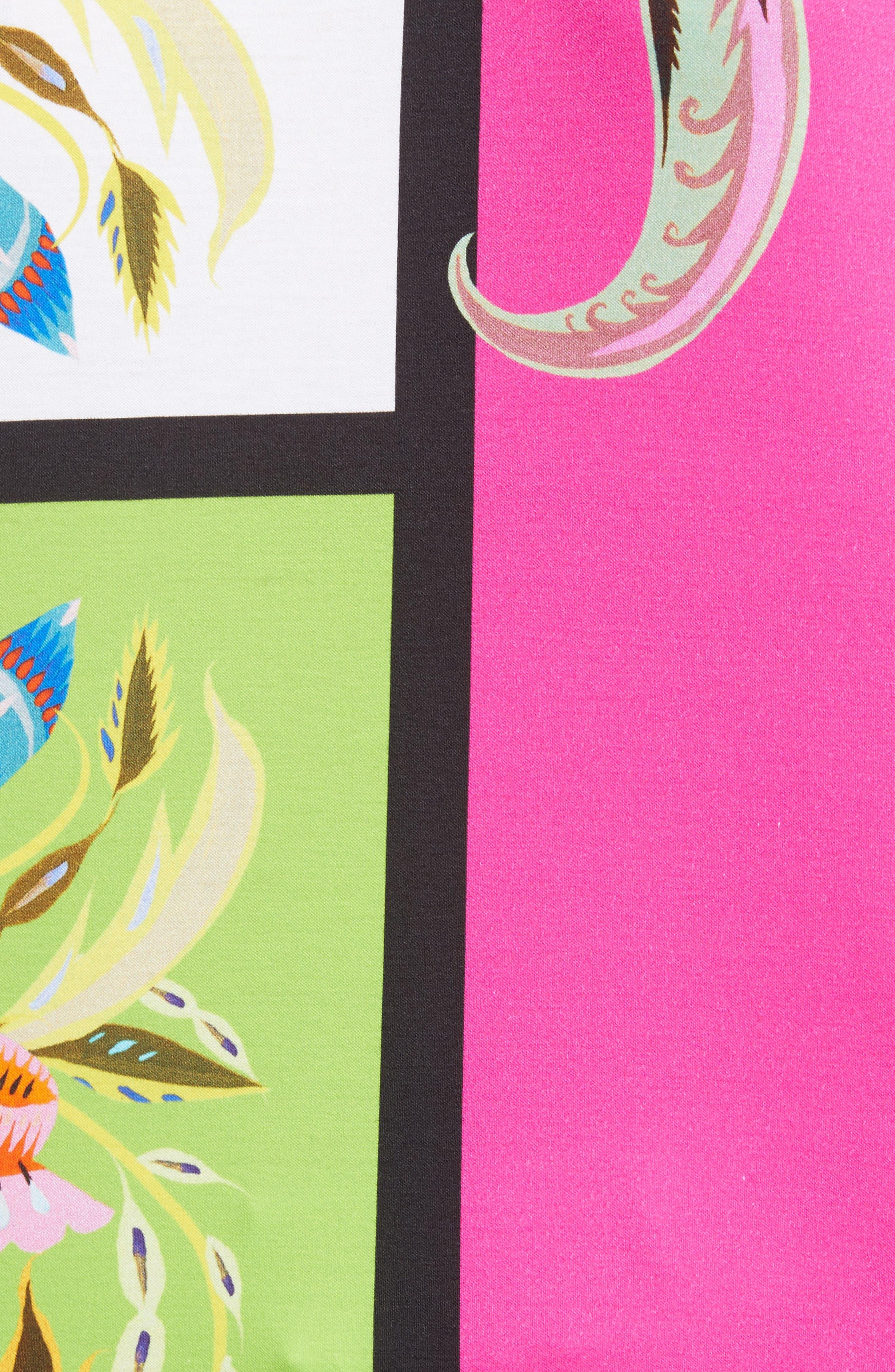 Colorblock Floral Print Tee,                             Alternate thumbnail 6, color,                             Pink