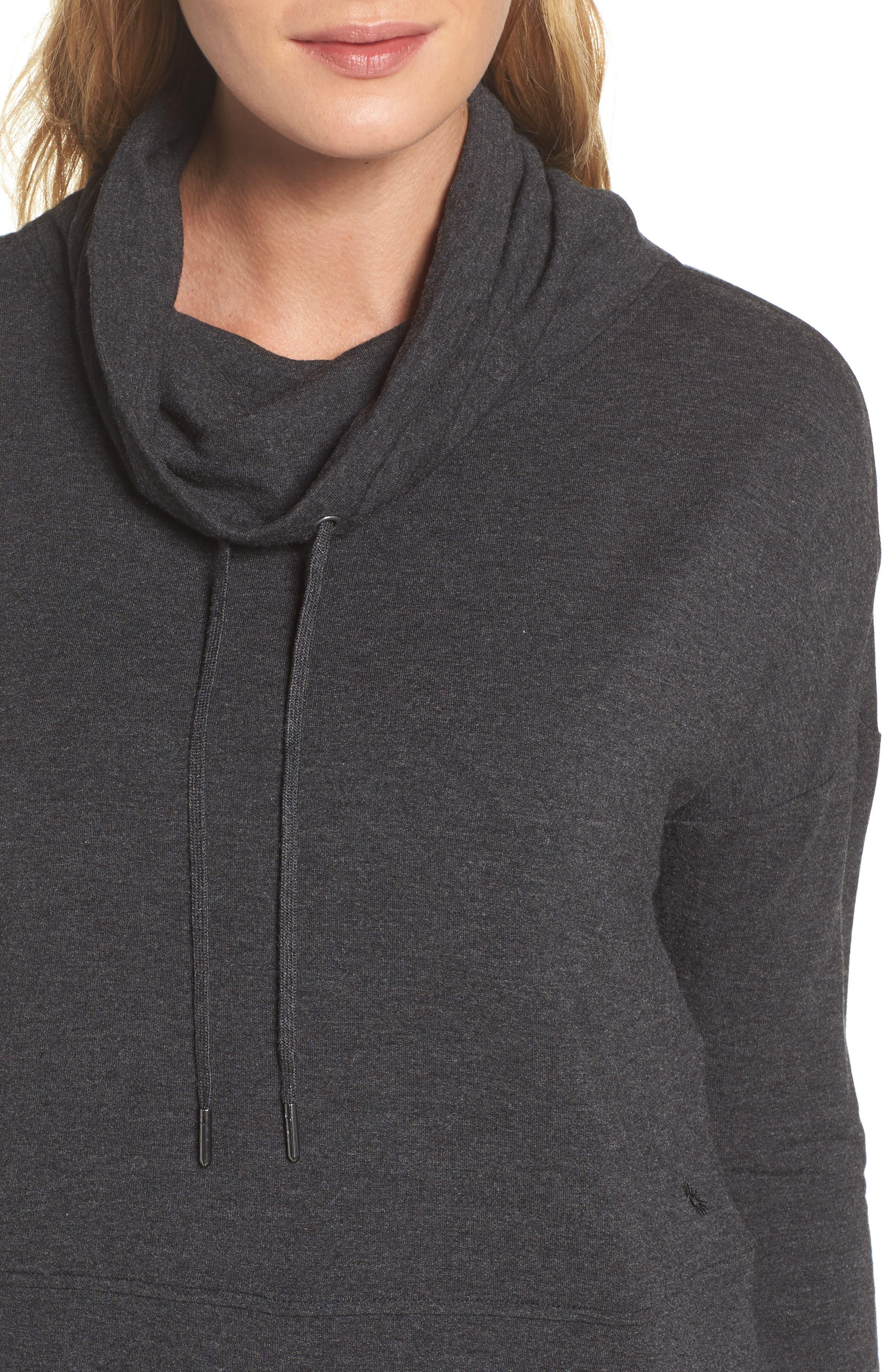 Funnel Neck Crop Sweatshirt,                             Alternate thumbnail 5, color,                             Black Heather