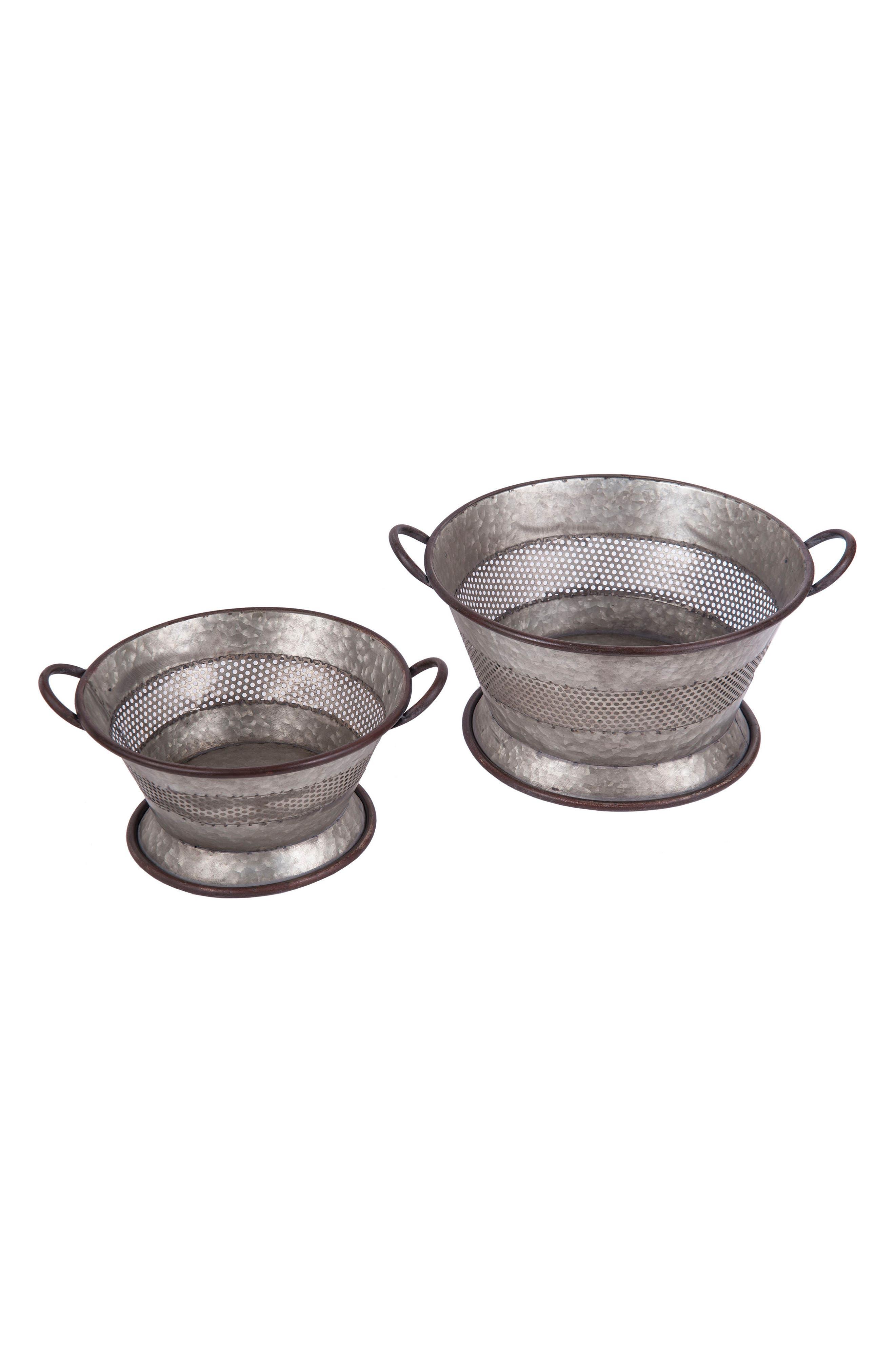 Set of 2 Decorative Strainer Baskets,                         Main,                         color, Metal