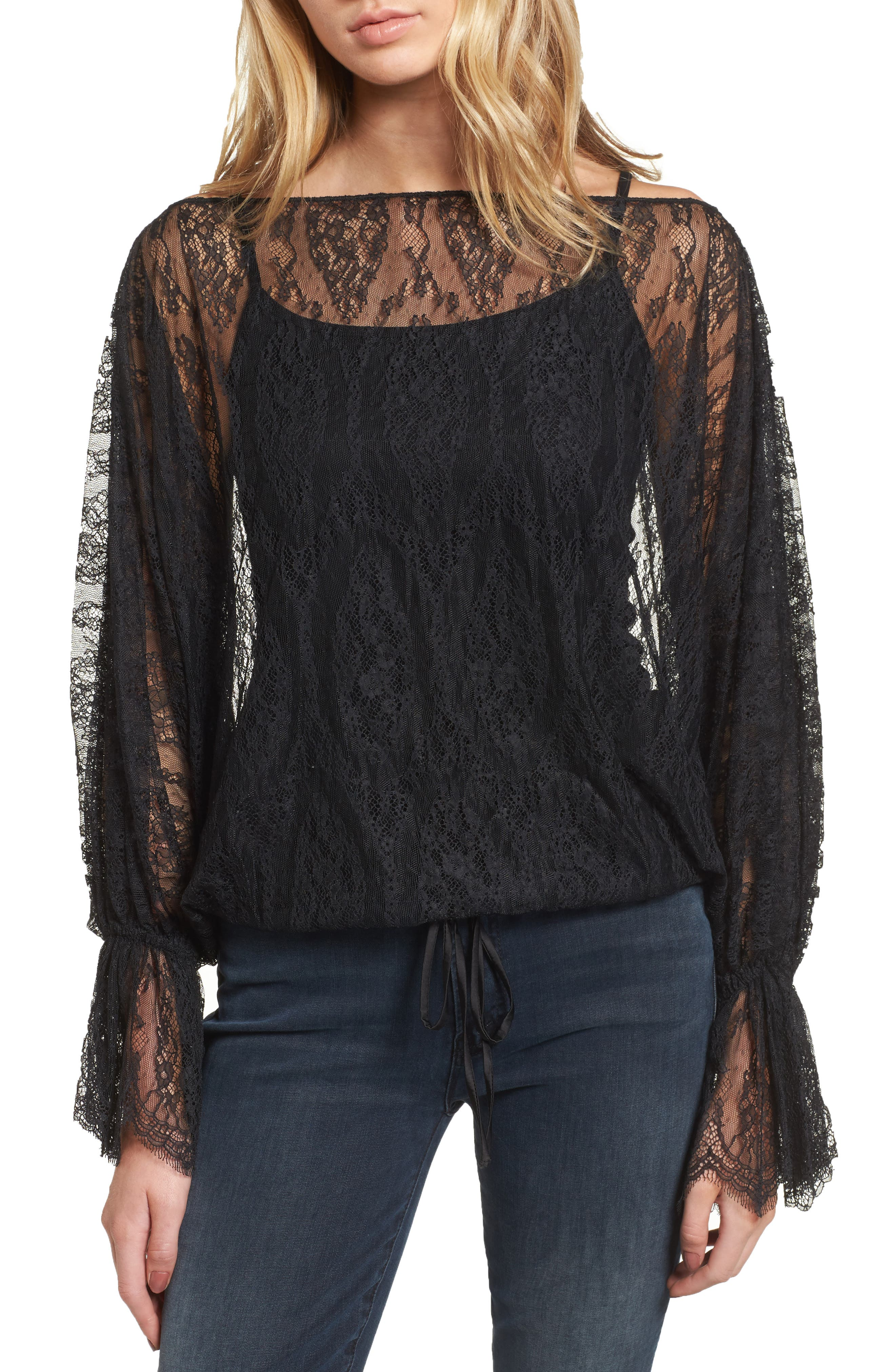 Bliss of Insanity Lace Top,                         Main,                         color, Black