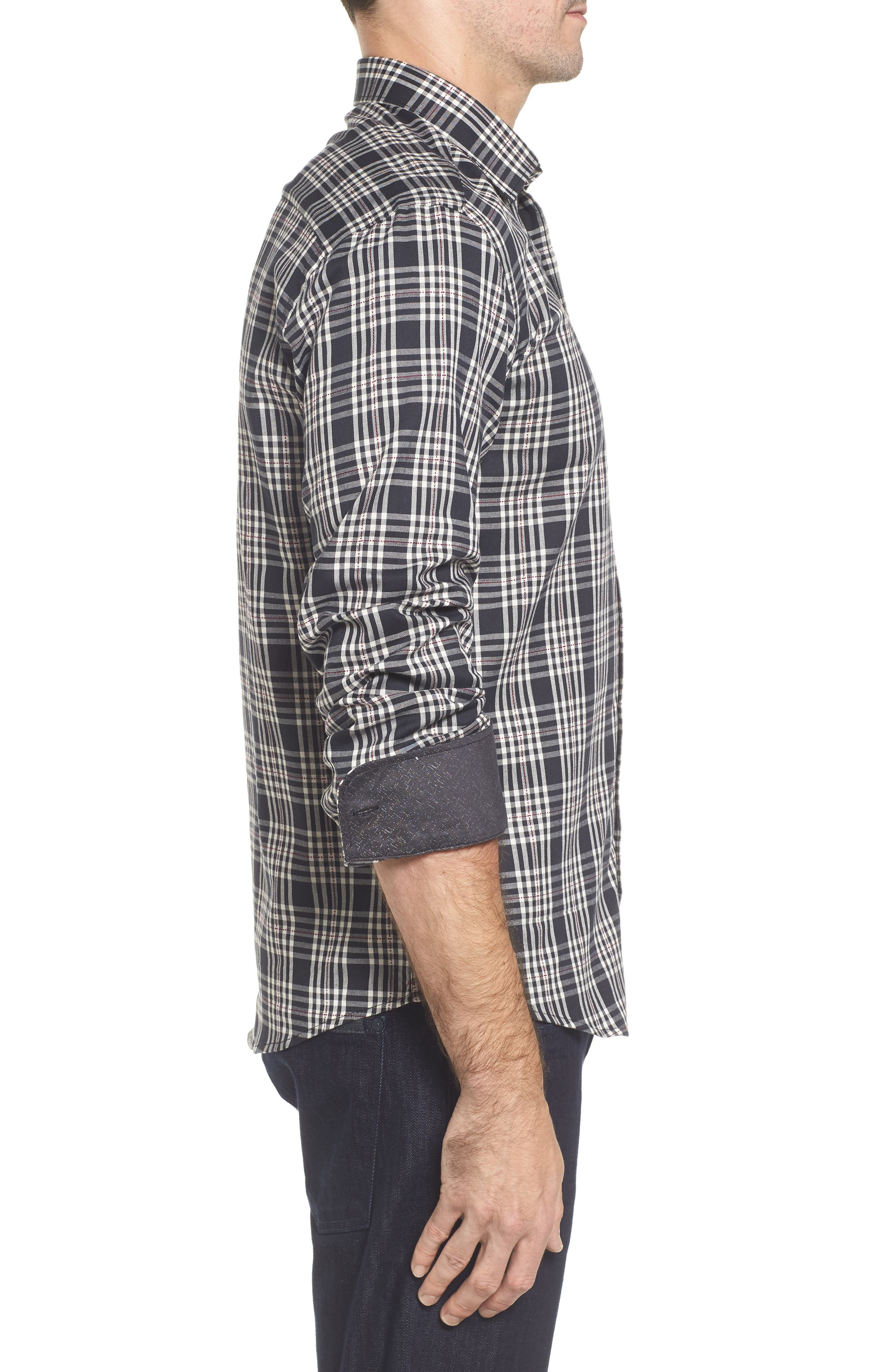 Classic Fit Plaid Sport Shirt,                             Alternate thumbnail 3, color,                             Black
