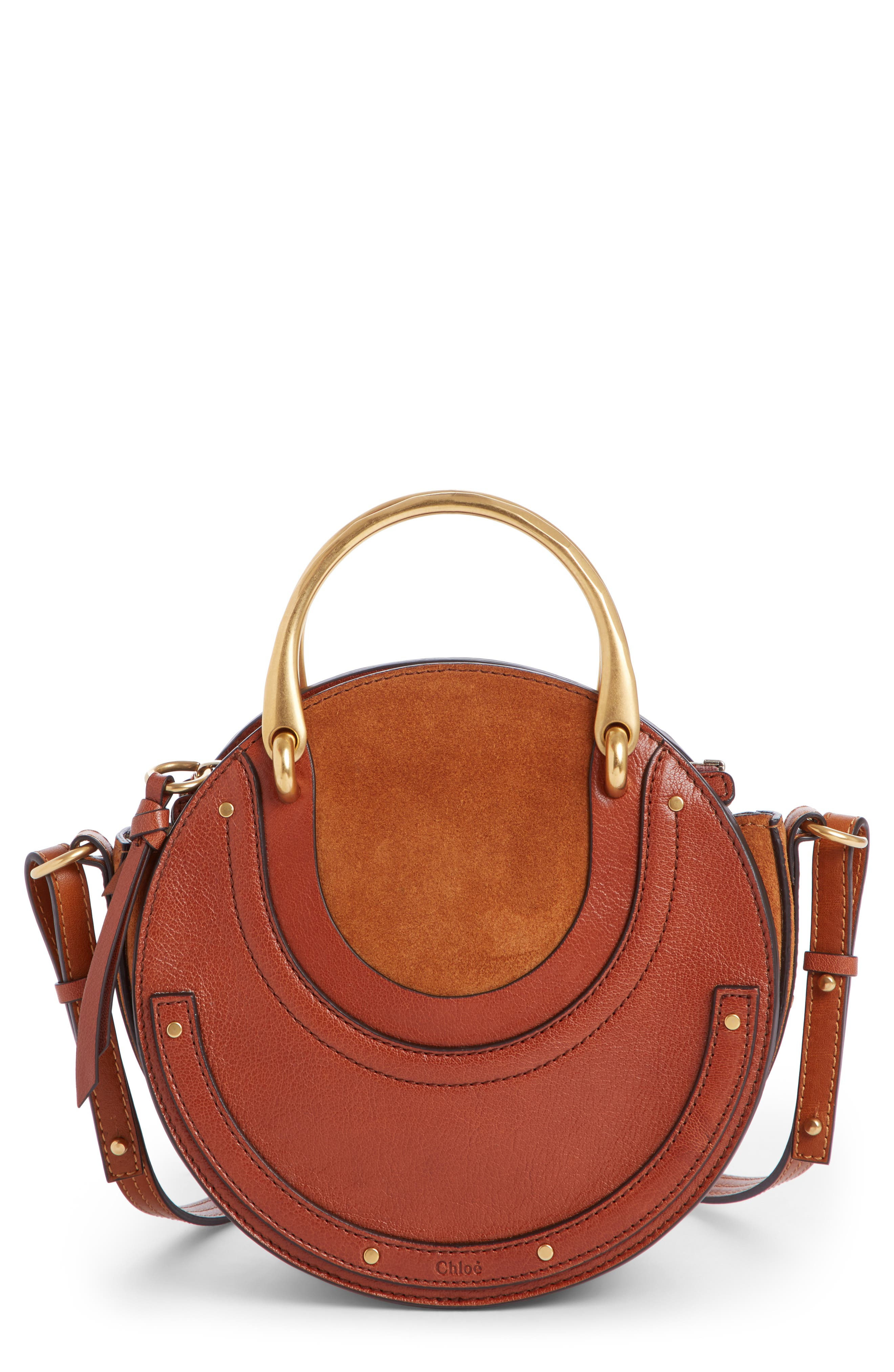 Pixie Leather Crossbody Bag,                             Main thumbnail 1, color,                             Saffron Red