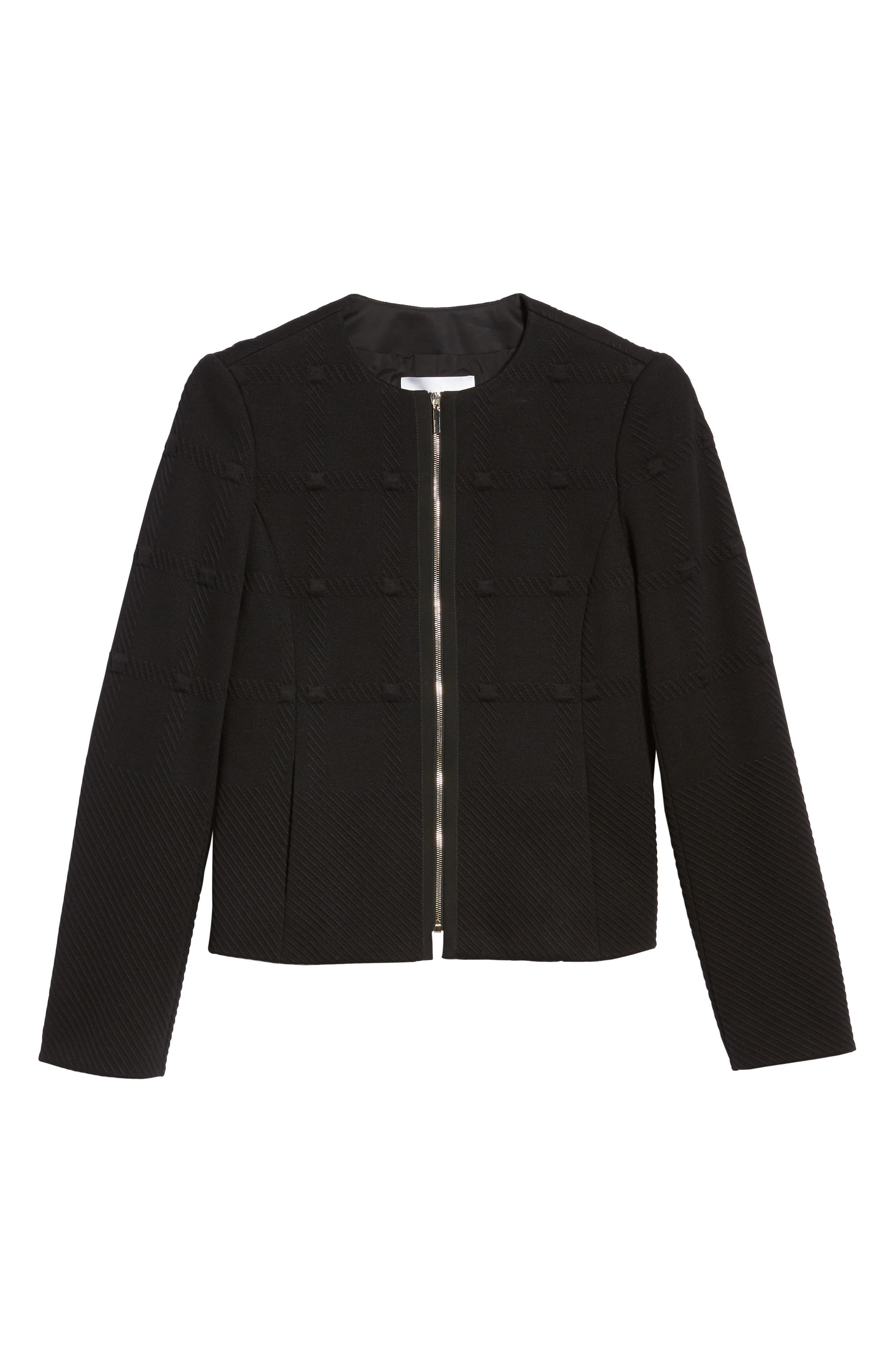Kanelli Jacquard Jacket,                             Alternate thumbnail 7, color,                             Black