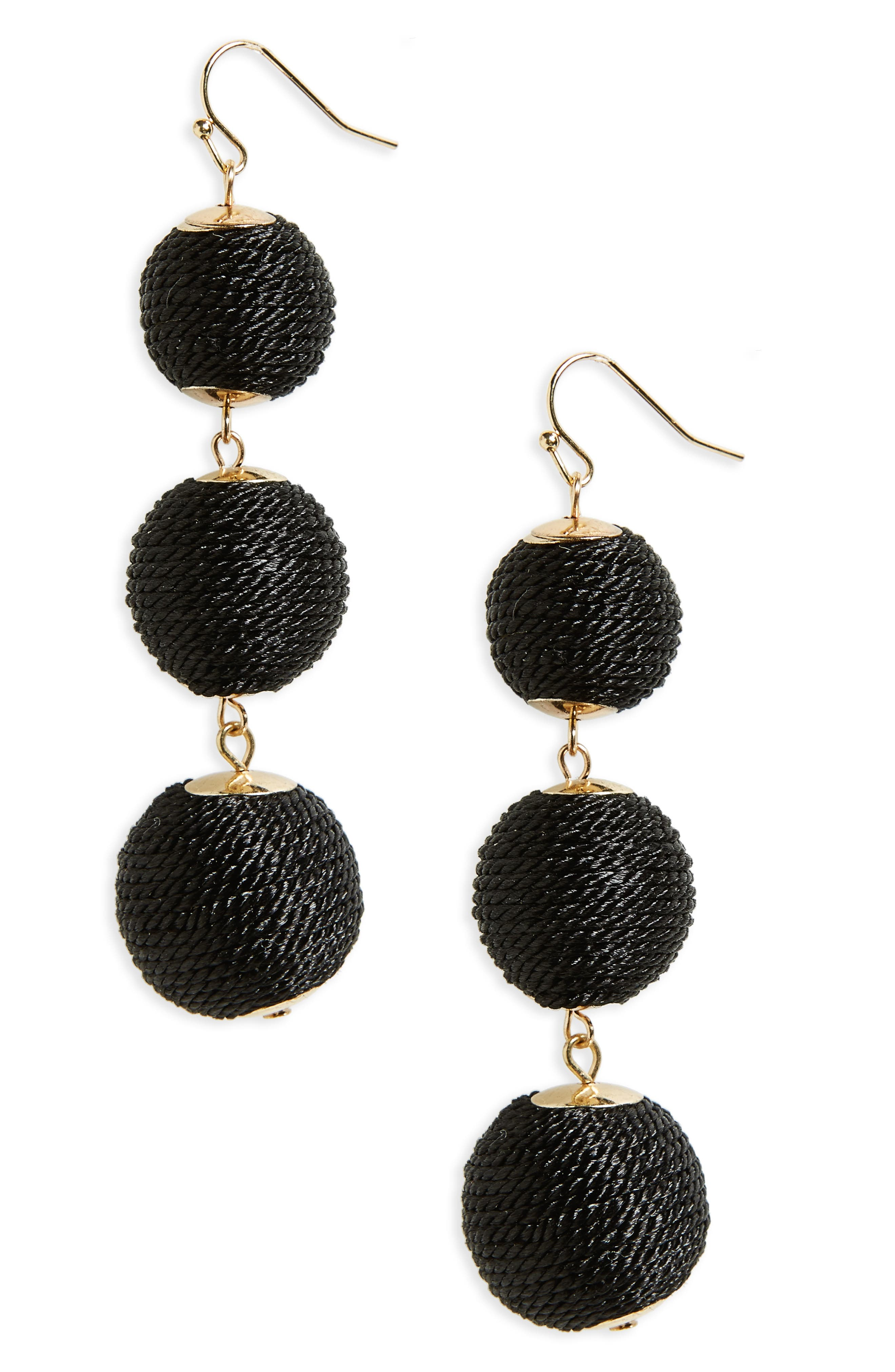 Ball Drop Earrings,                         Main,                         color, Black