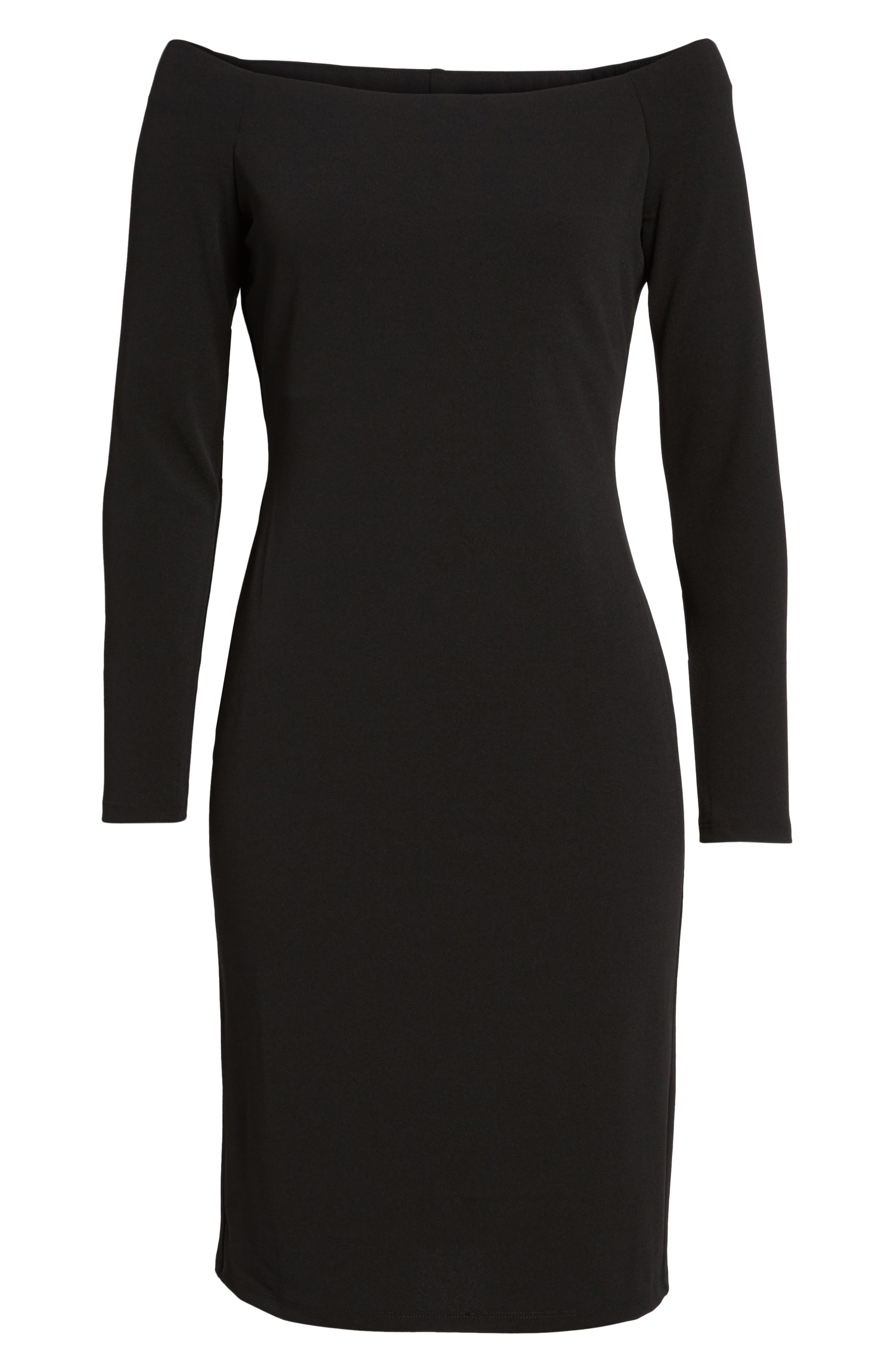 Main Image - Eliza J Off the Shoulder Scuba Sheath Dress (Regular & Petite)