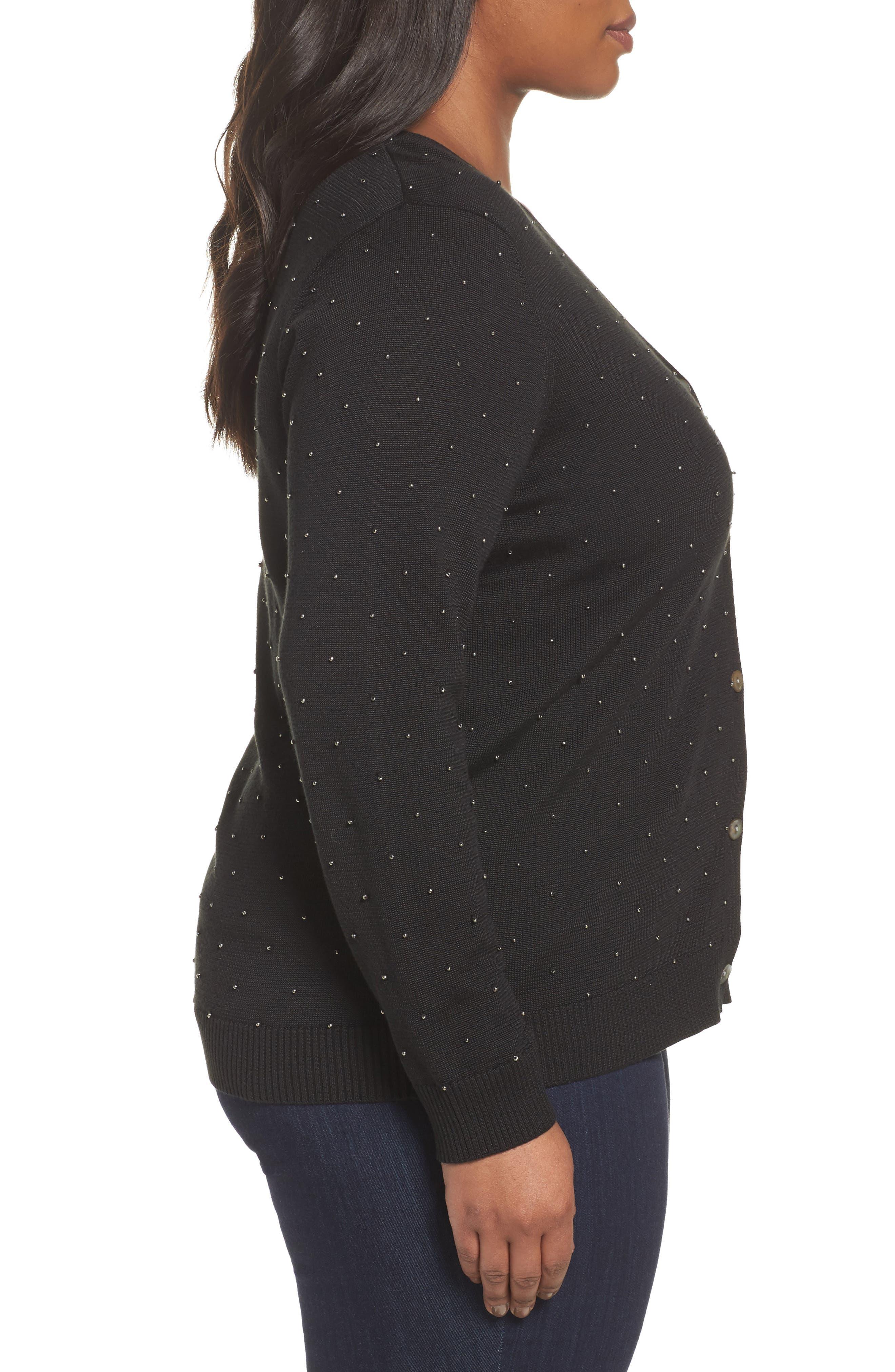 Alternate Image 3  - Foxcroft Ryleigh Beaded Cardigan (Plus Size)