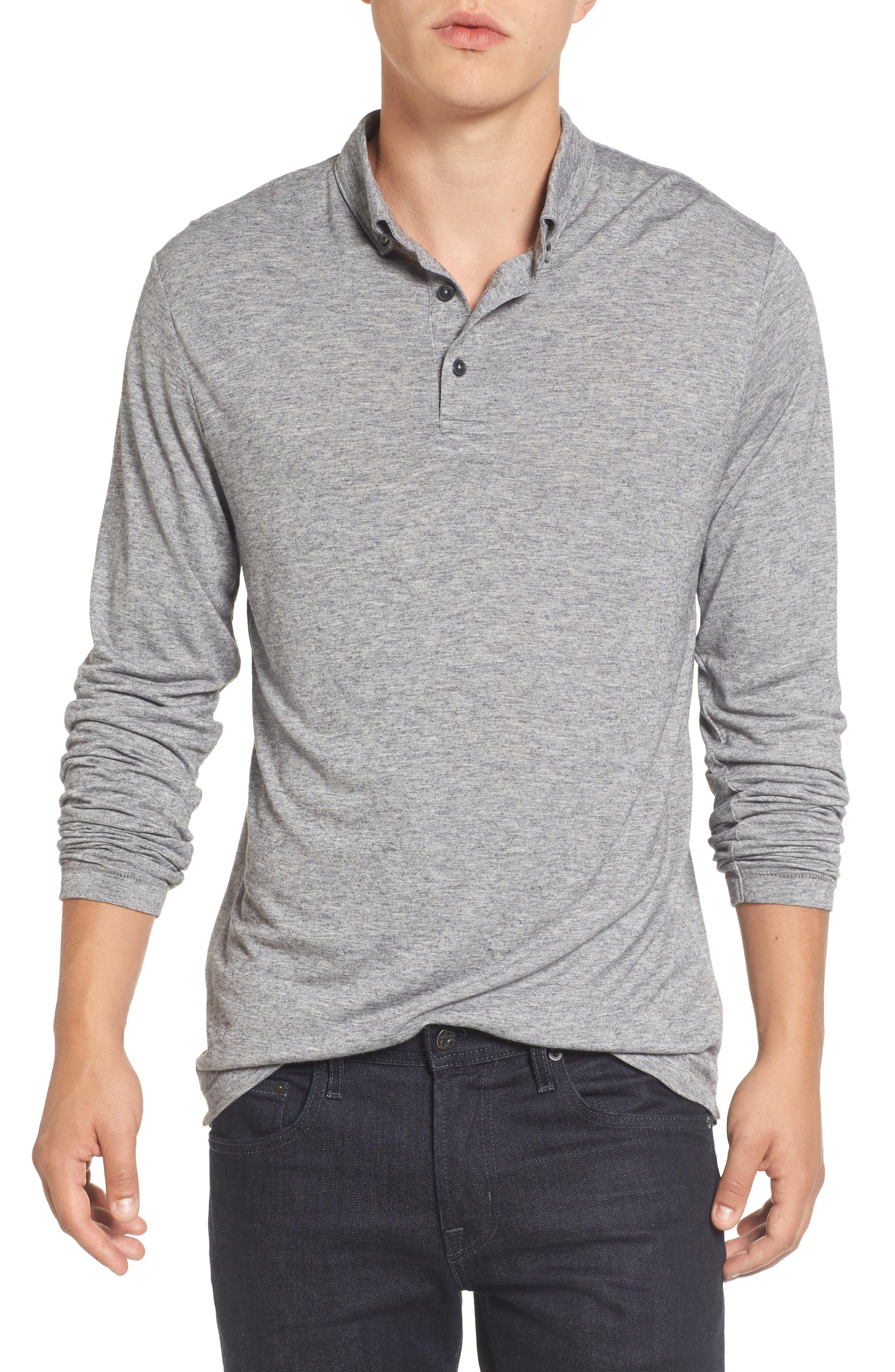 Long Sleeve Wool Jersey Polo,                         Main,                         color, Grey Melange