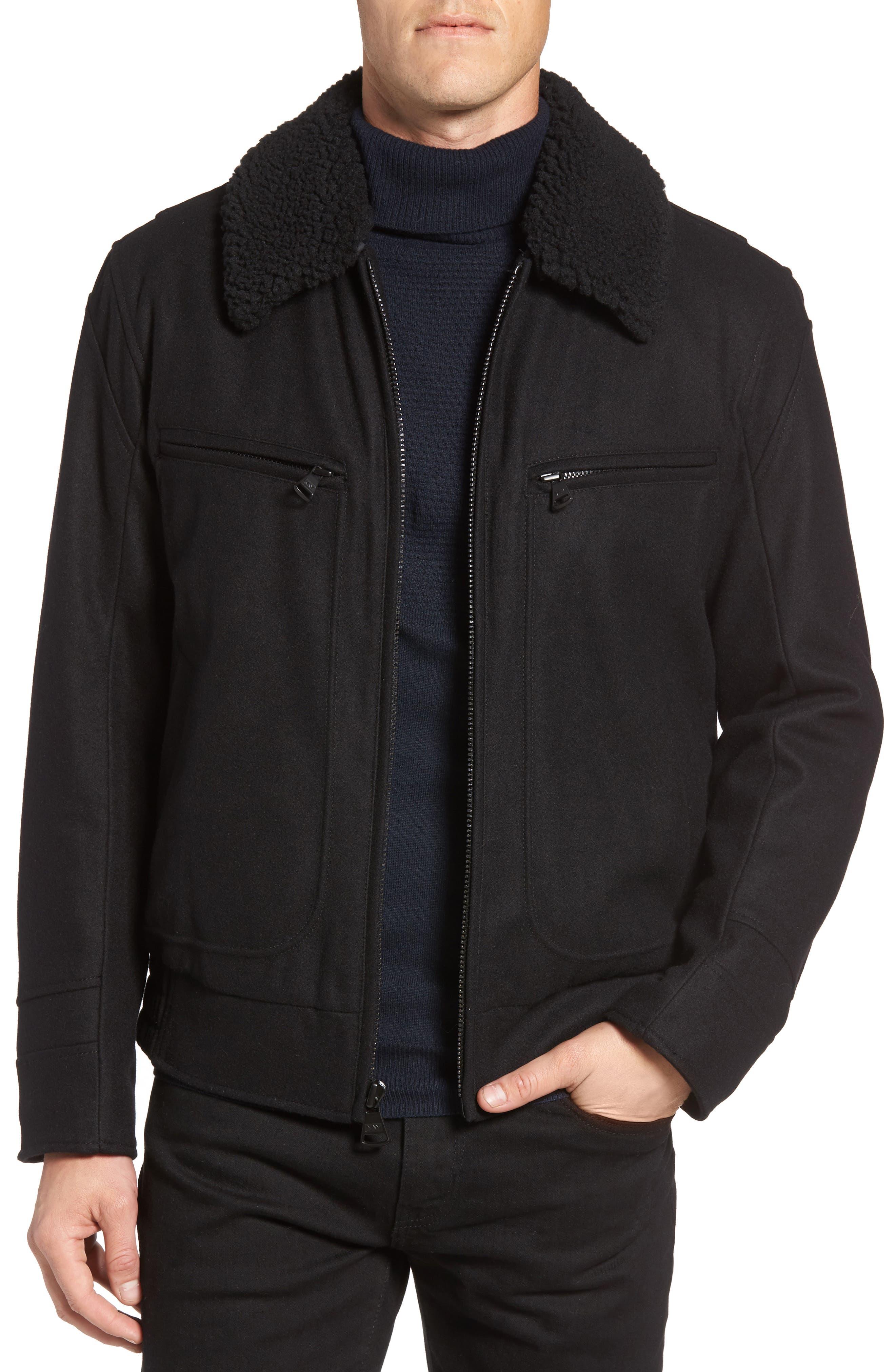 Concord Faux Shearling Aviator Jacket,                             Main thumbnail 1, color,                             Black