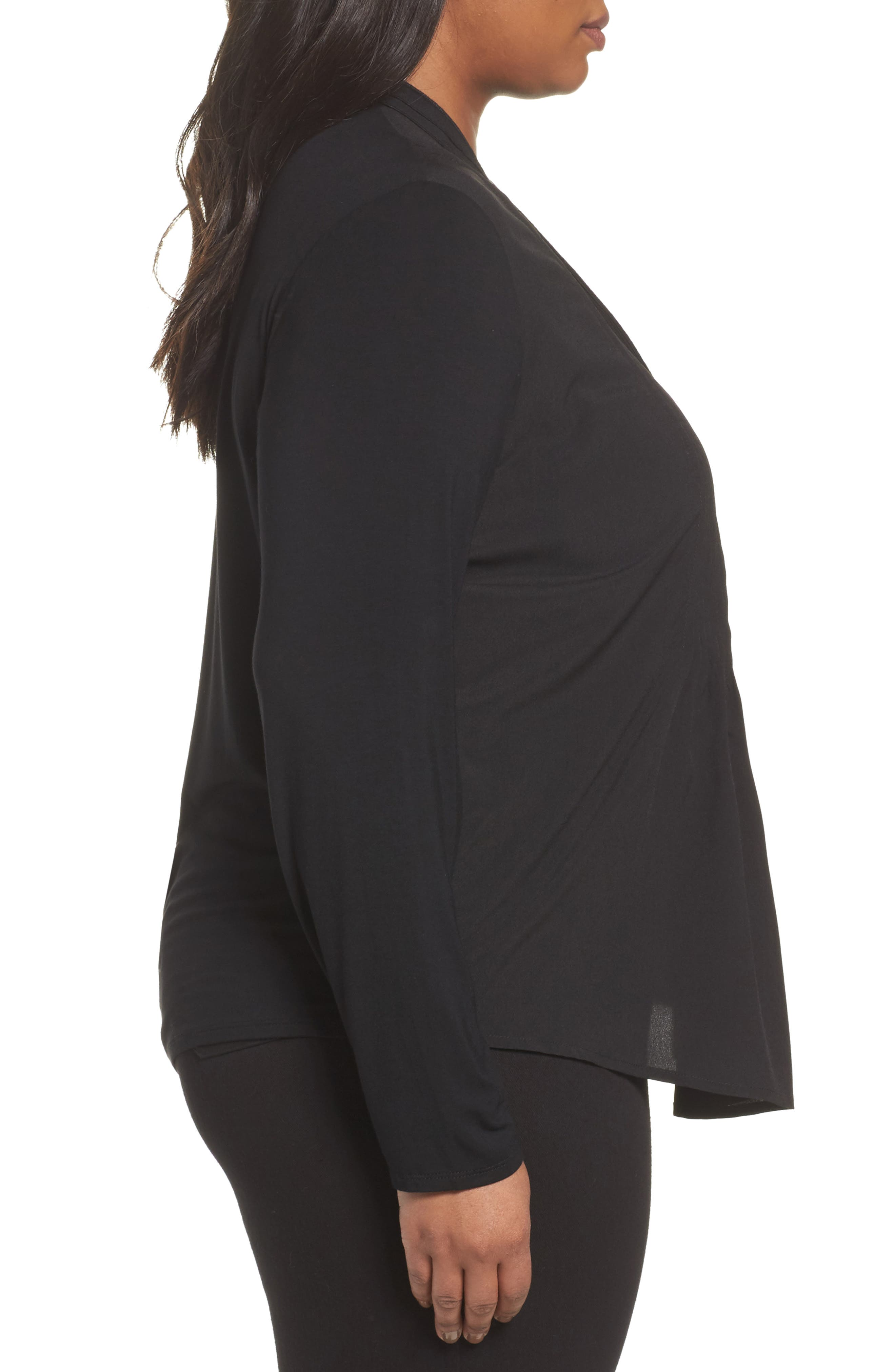 Carrie Crepe & Jersey Top,                             Alternate thumbnail 3, color,                             Black