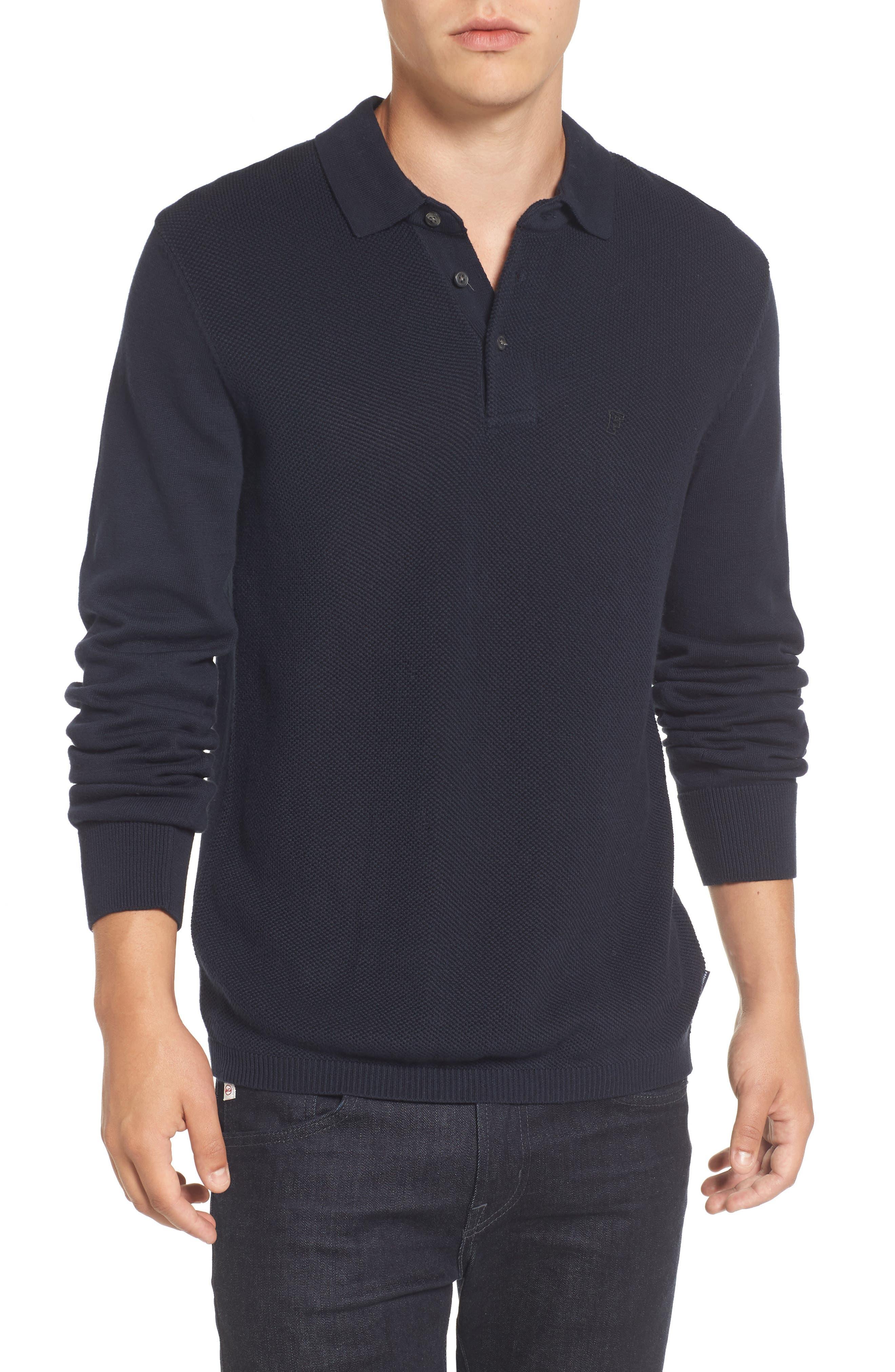 Textured Long Sleeve Polo,                         Main,                         color, Marine Blue