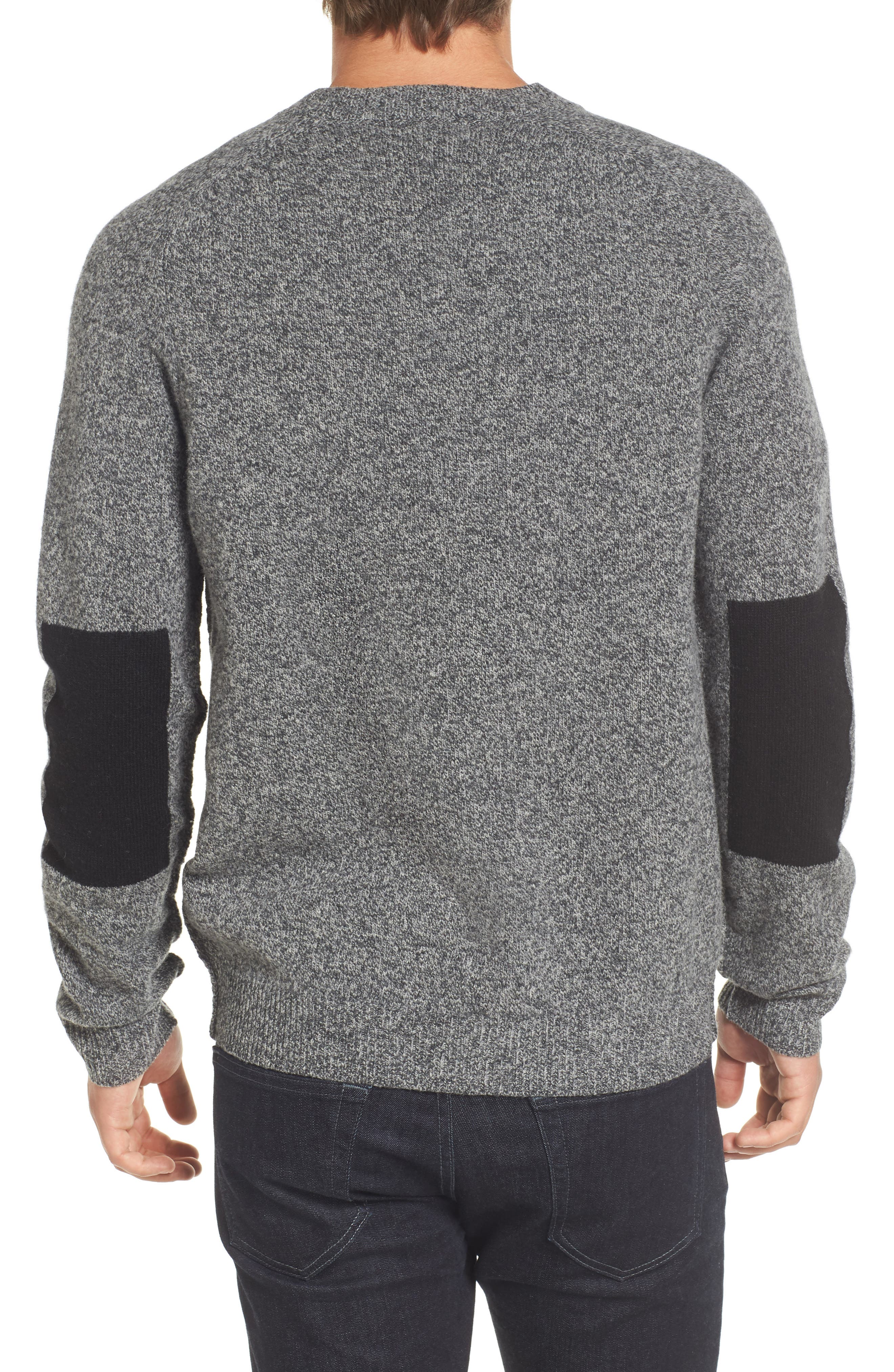 Elbow Patch Sweater,                             Alternate thumbnail 2, color,                             Charcoal Twist/ Black