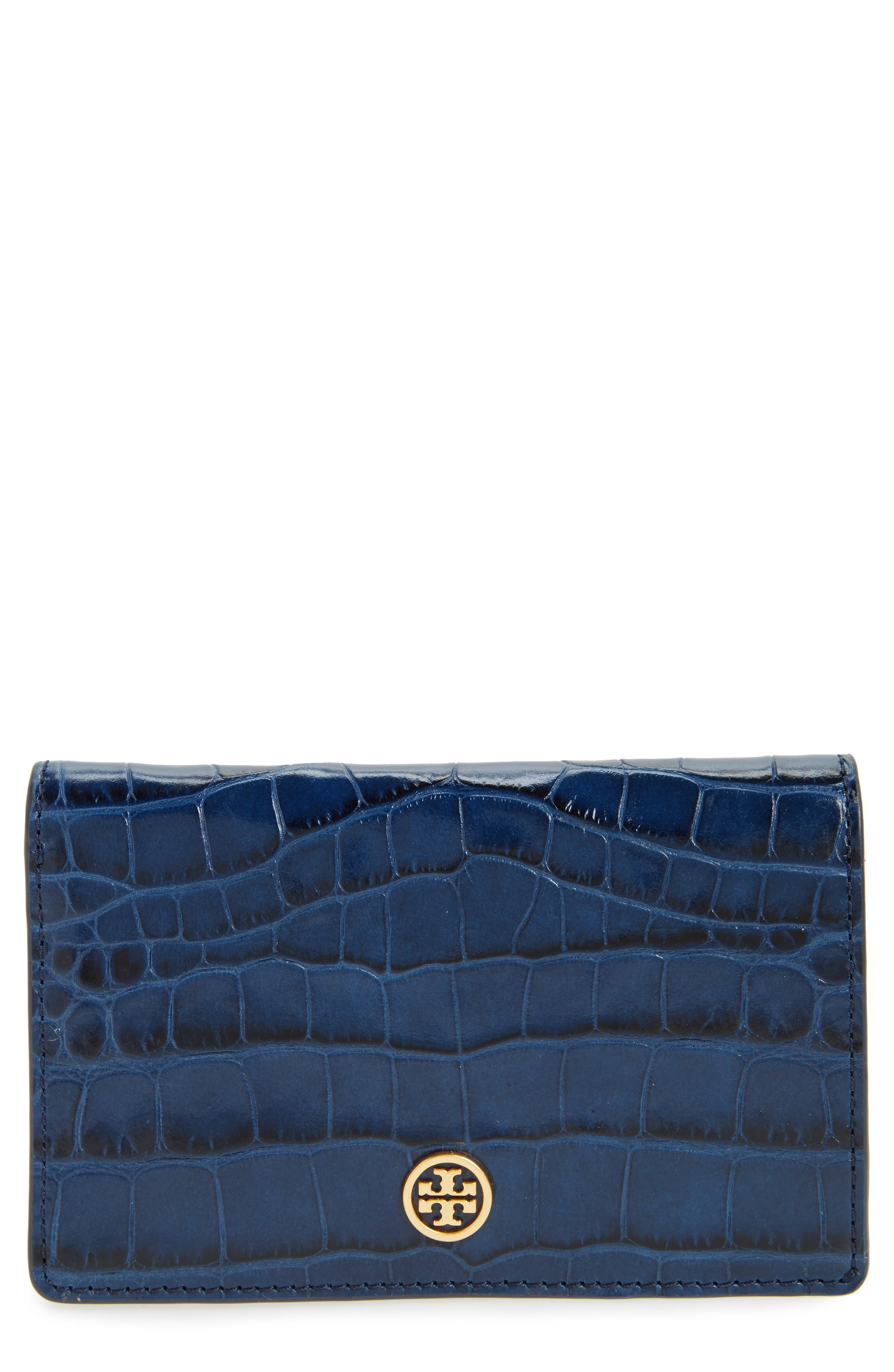Parker Slim Croc Embossed Leather Wallet,                         Main,                         color, Tory Navy Croc