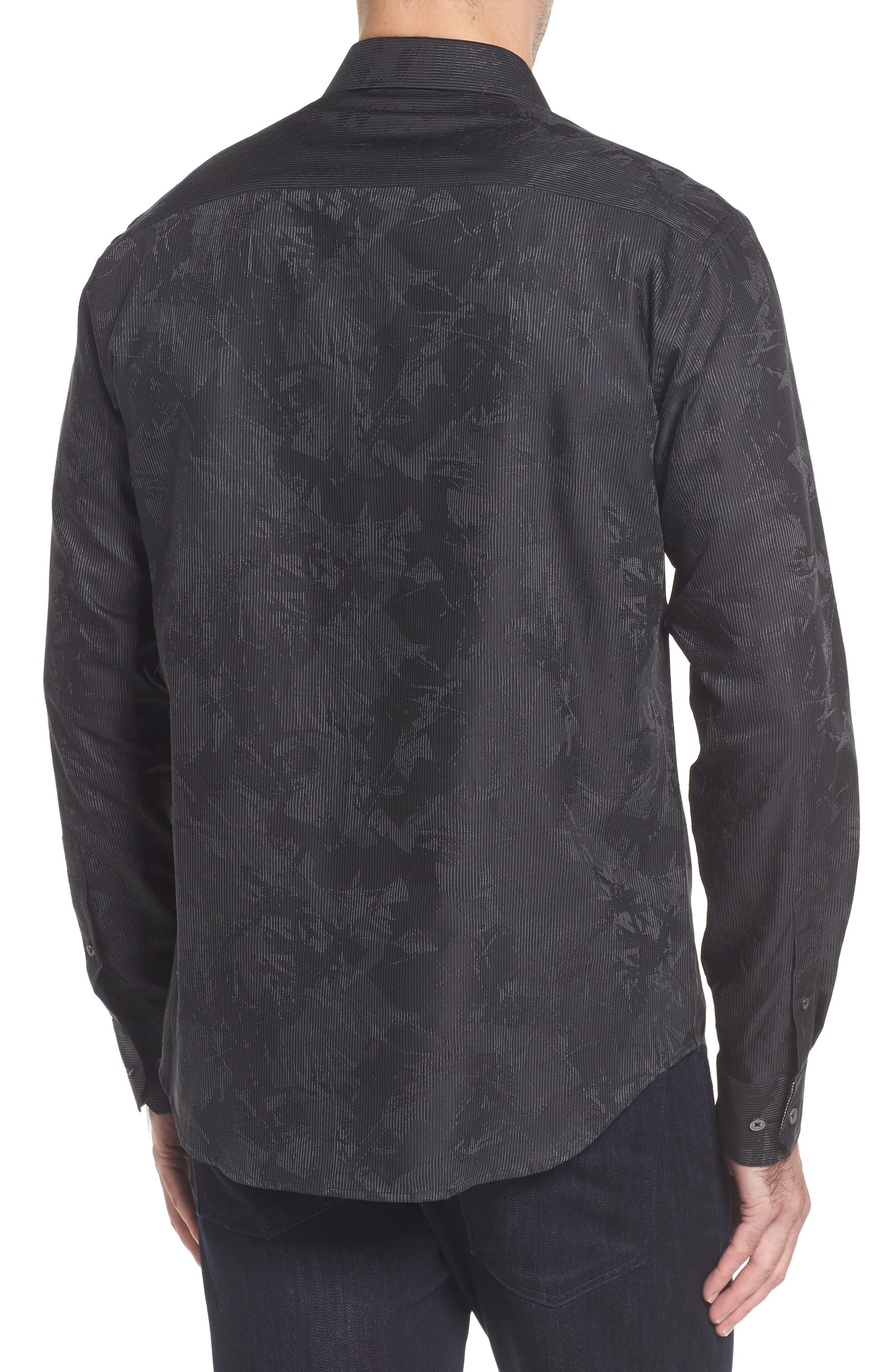 Shaped Fit Print Sport Shirt,                             Alternate thumbnail 2, color,                             Black