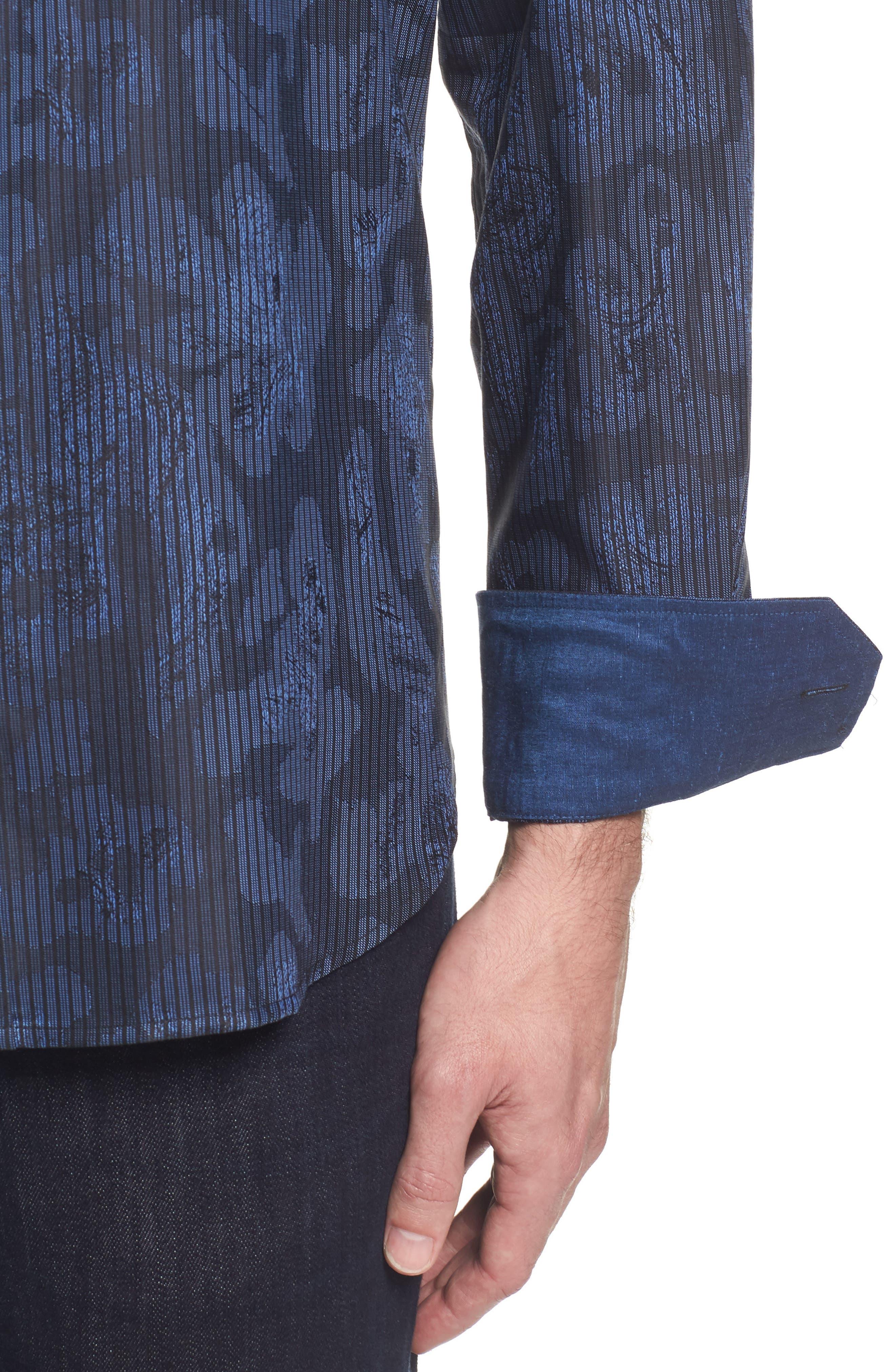 Alternate Image 4  - Bugatchi Slim Fit Jacquard Stripe Sport Shirt