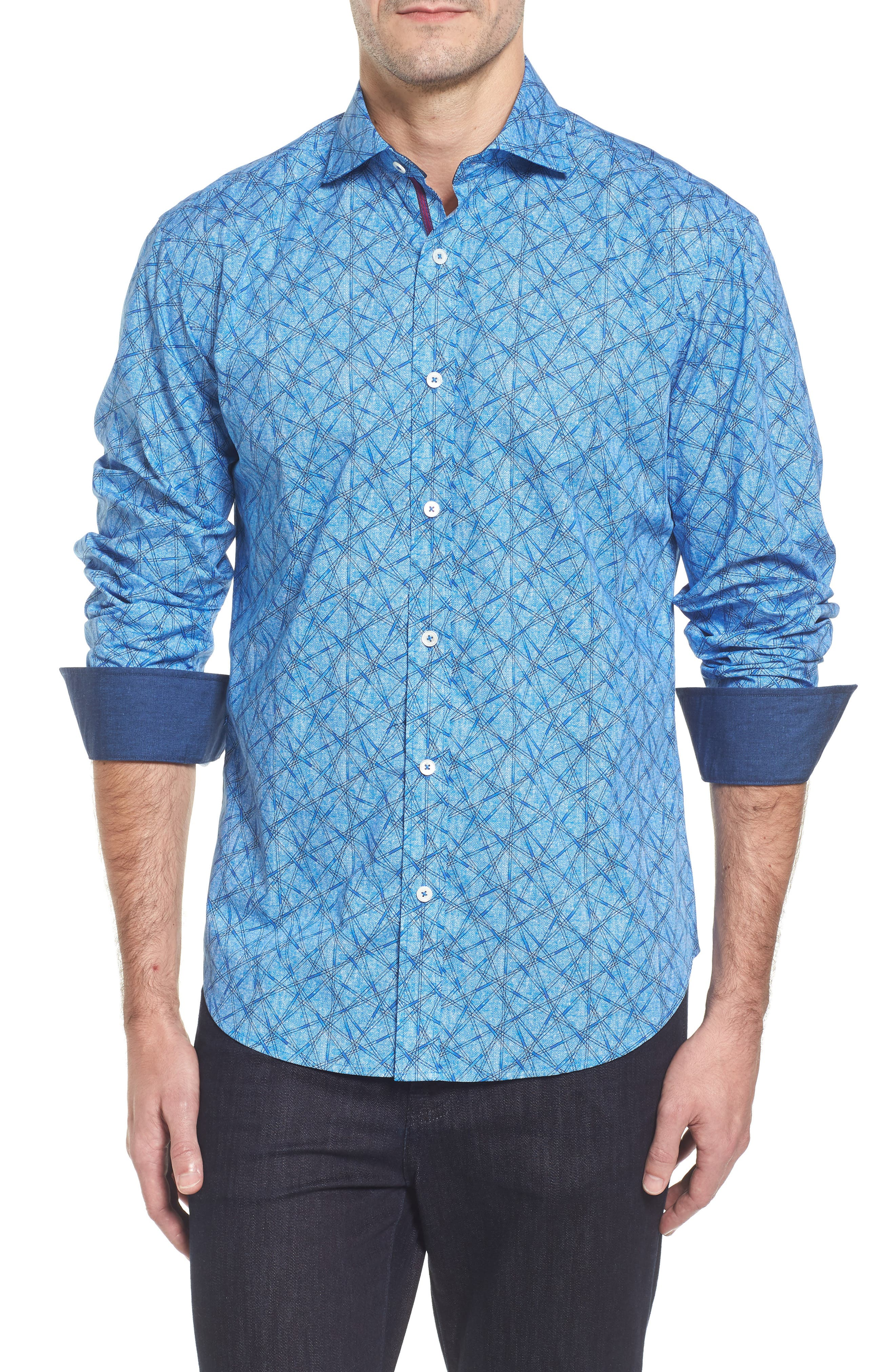 Slim Fit Abstract Print Sport Shirt,                         Main,                         color, Classic Blue