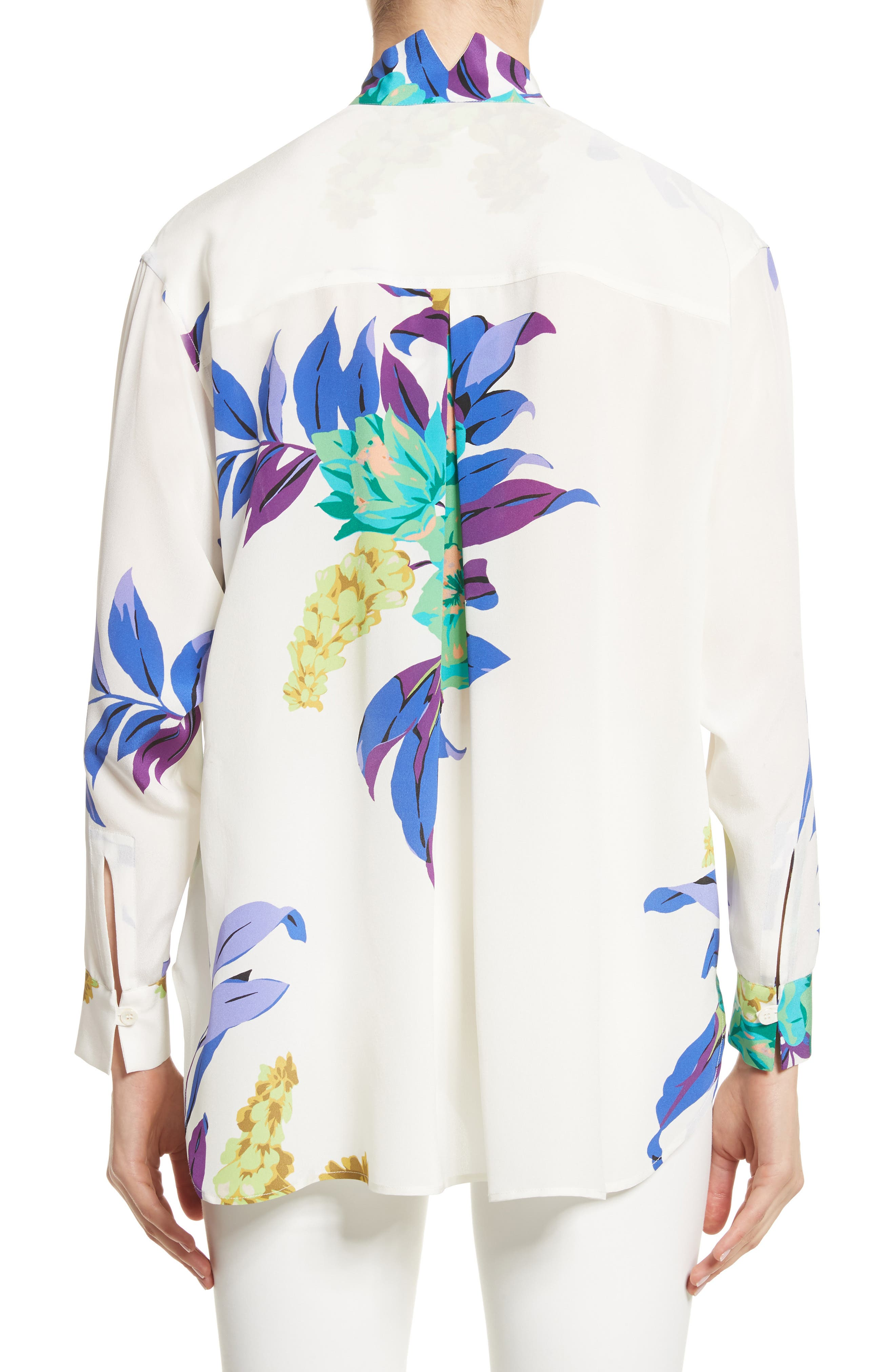 Floral Silk Blouse,                             Alternate thumbnail 2, color,                             White